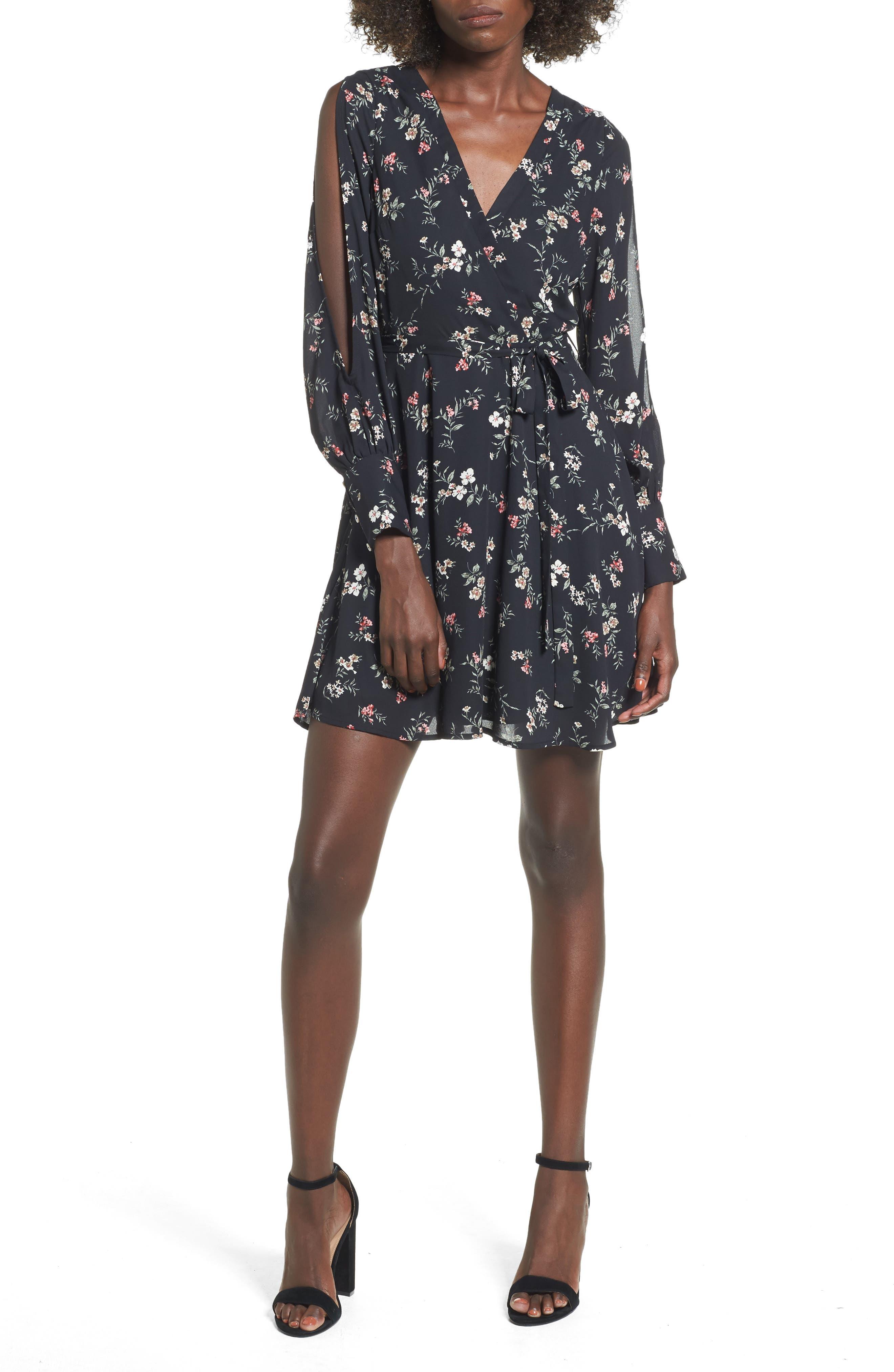 Cold Shoulder Wrap Style Dress,                         Main,                         color, Black Floral
