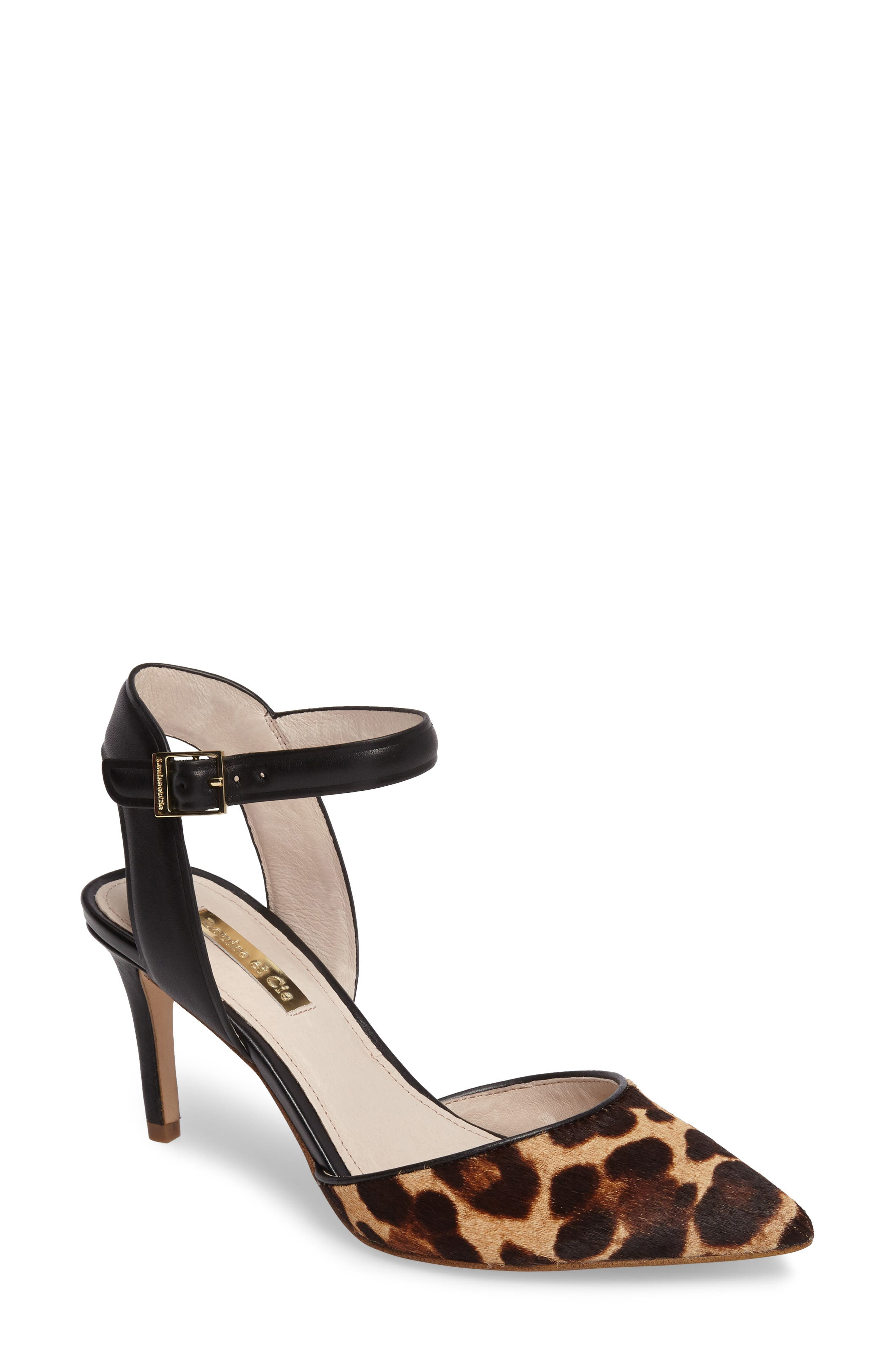 Kota Ankle Strap Pump,                             Main thumbnail 1, color,                             Leopard Print Calf Hair