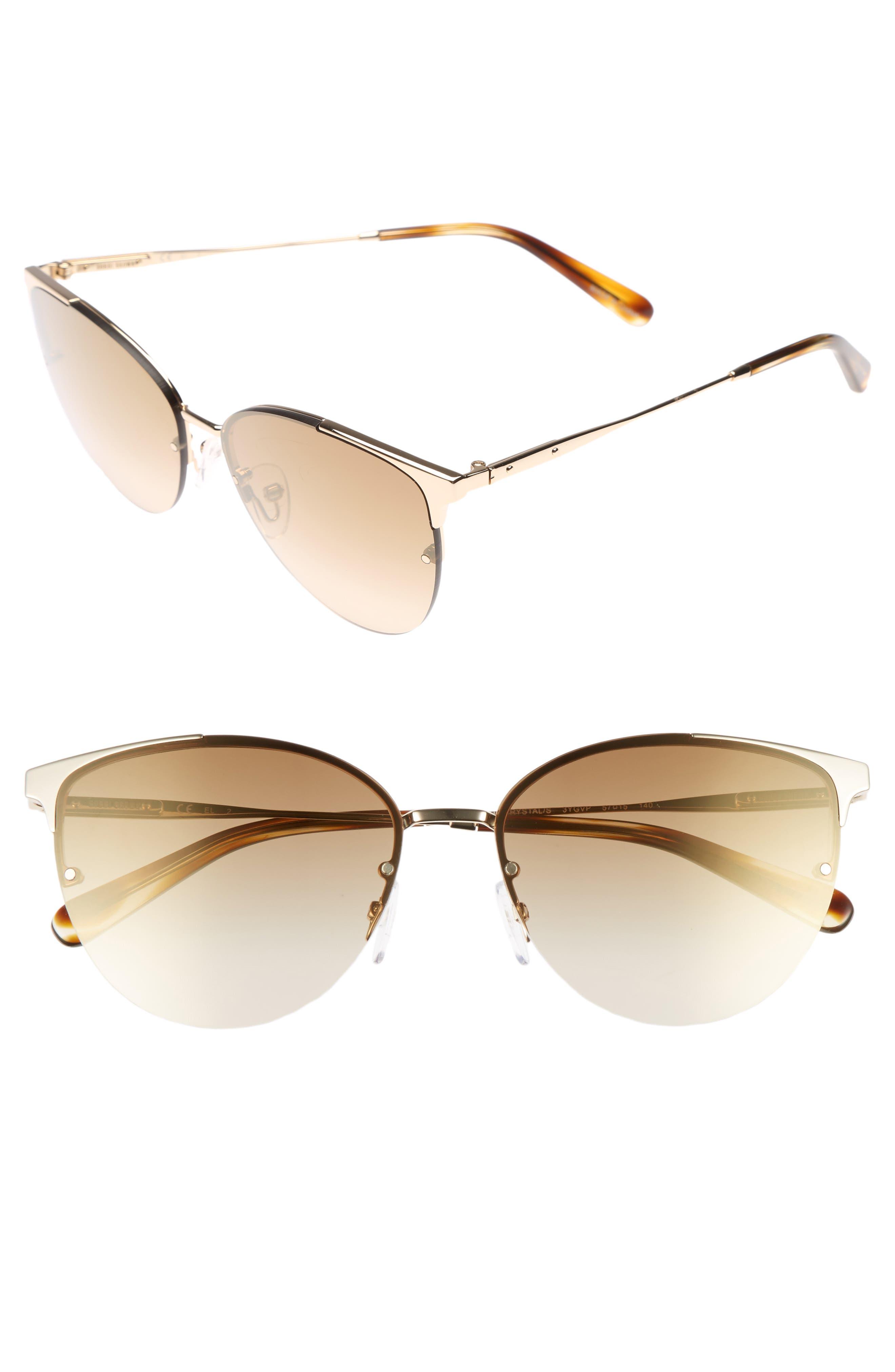 The Crystal 57mm Cat Eye Sunglasses,                             Main thumbnail 1, color,                             Light Gold