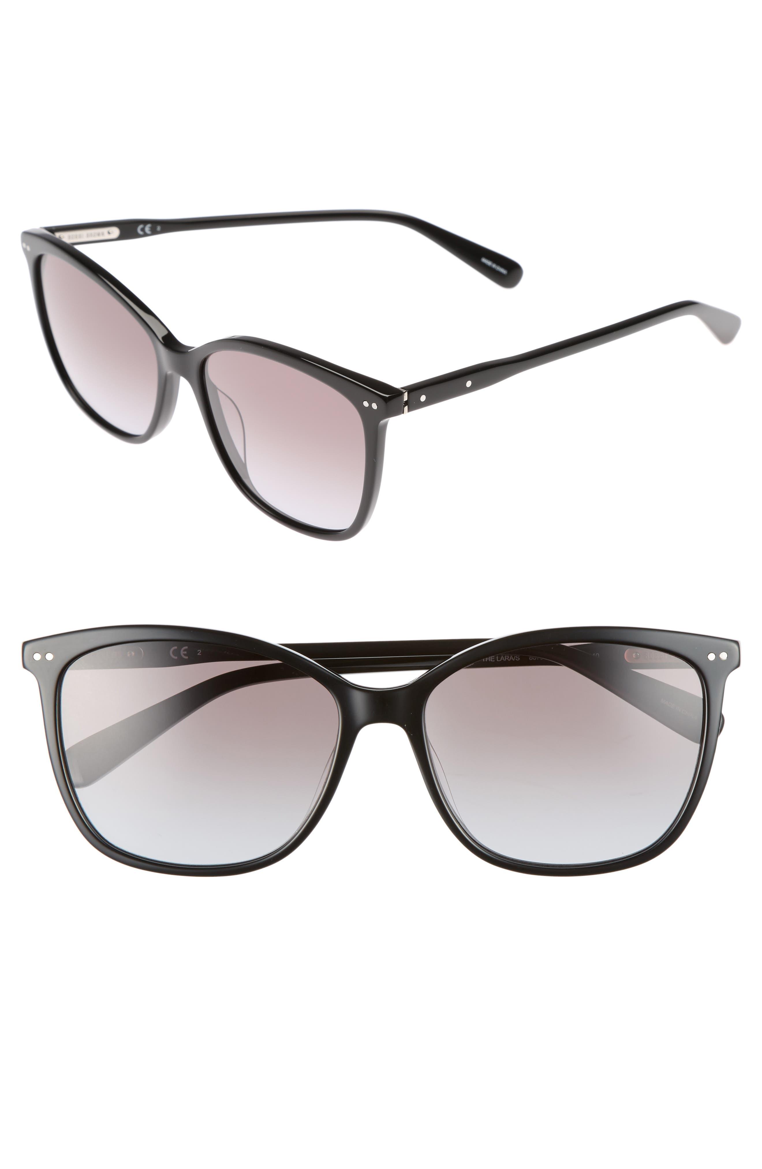 The Lara 56mm Cat Eye Sunglasses,                         Main,                         color, Black