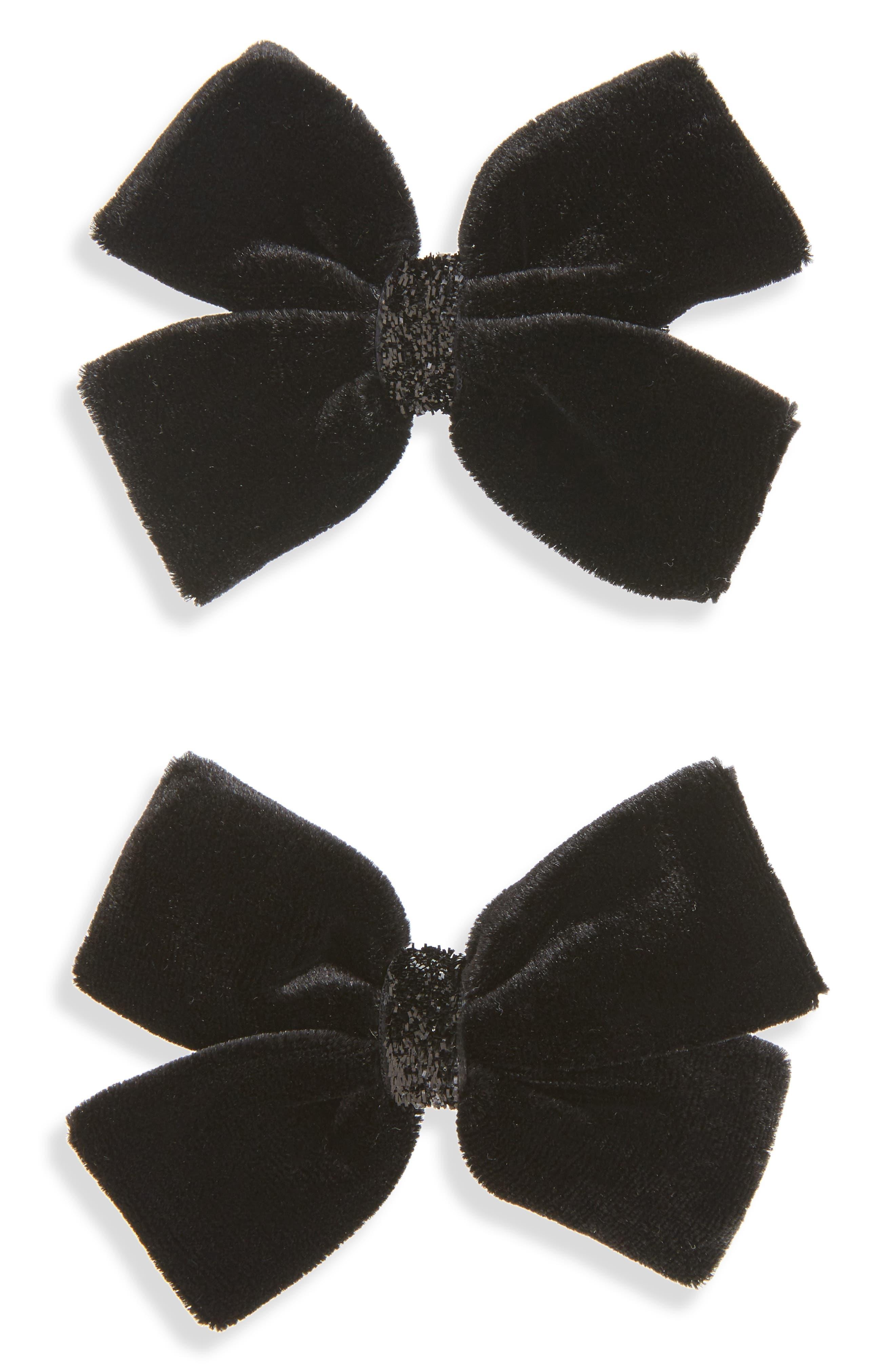 2-Pack Velvet Bow Clips,                         Main,                         color, Black