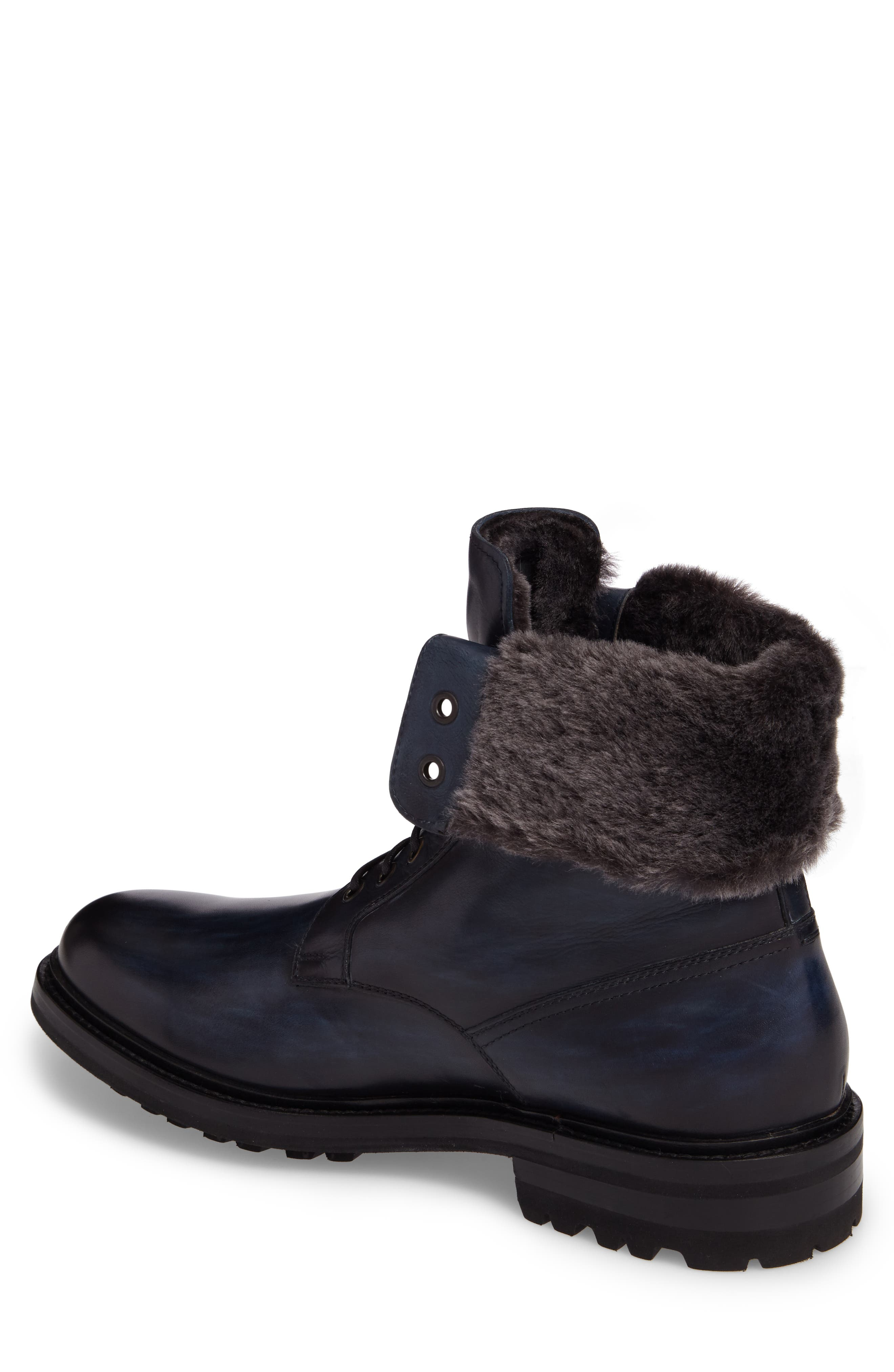 Paxton Plain Toe Boot with Genuine Rabbit Fur Cuff,                             Alternate thumbnail 2, color,                             Navy Leather