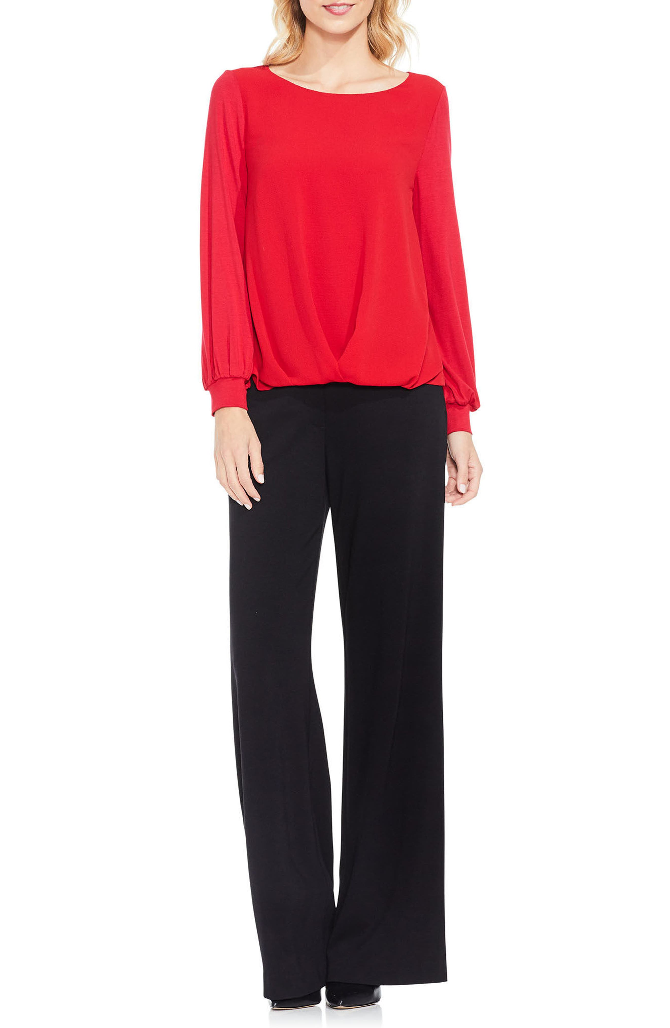 Alternate Image 2  - Vince Camuto Long Sleeve Foldover Mix Media Blouse