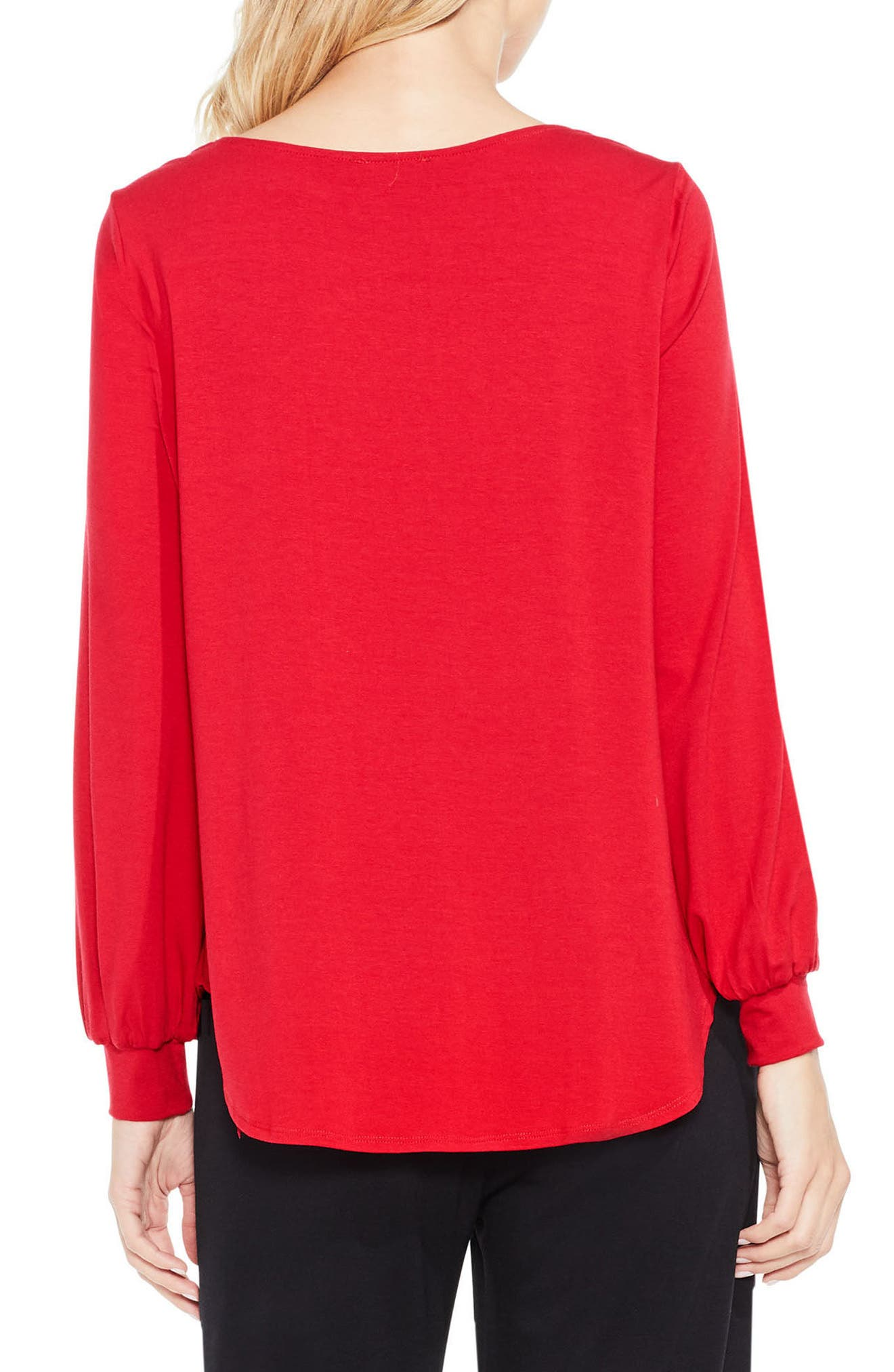 Alternate Image 3  - Vince Camuto Long Sleeve Foldover Mix Media Blouse
