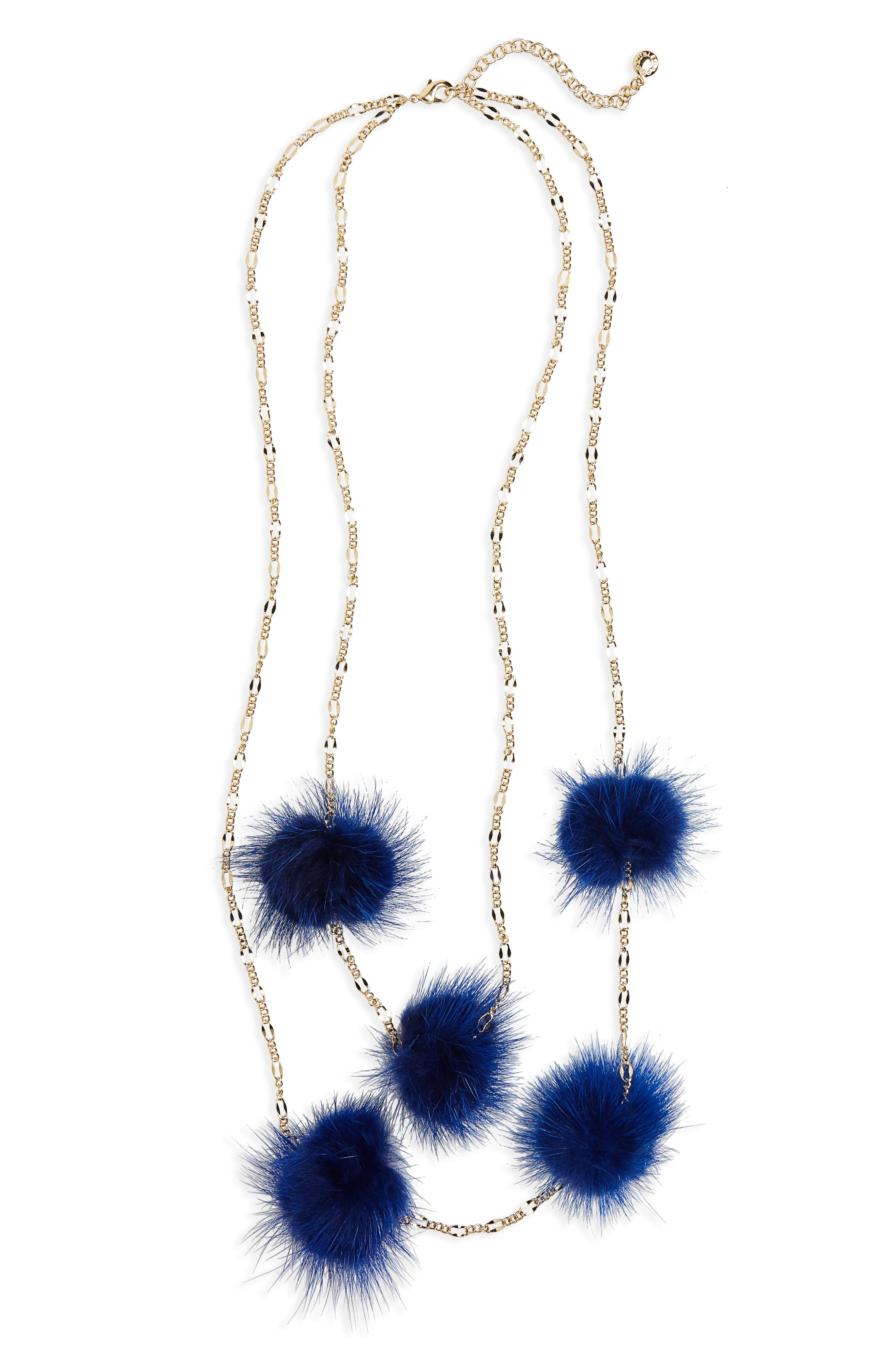 Loulou Genuine Marten Fur Pompom Layered Necklace,                         Main,                         color, Navy
