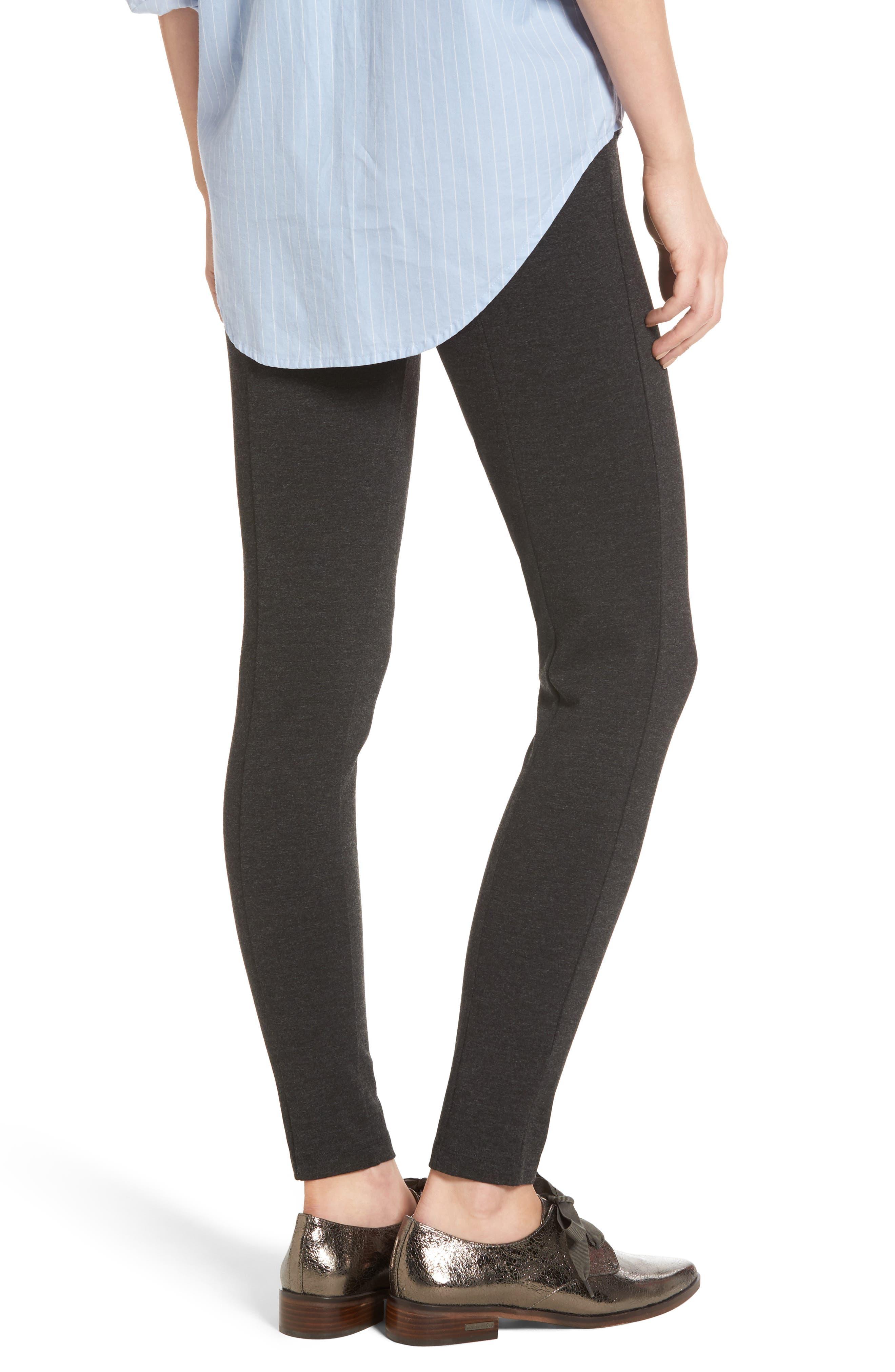 Seamed Ponte Knit Leggings,                             Alternate thumbnail 2, color,                             Charcoal Grey
