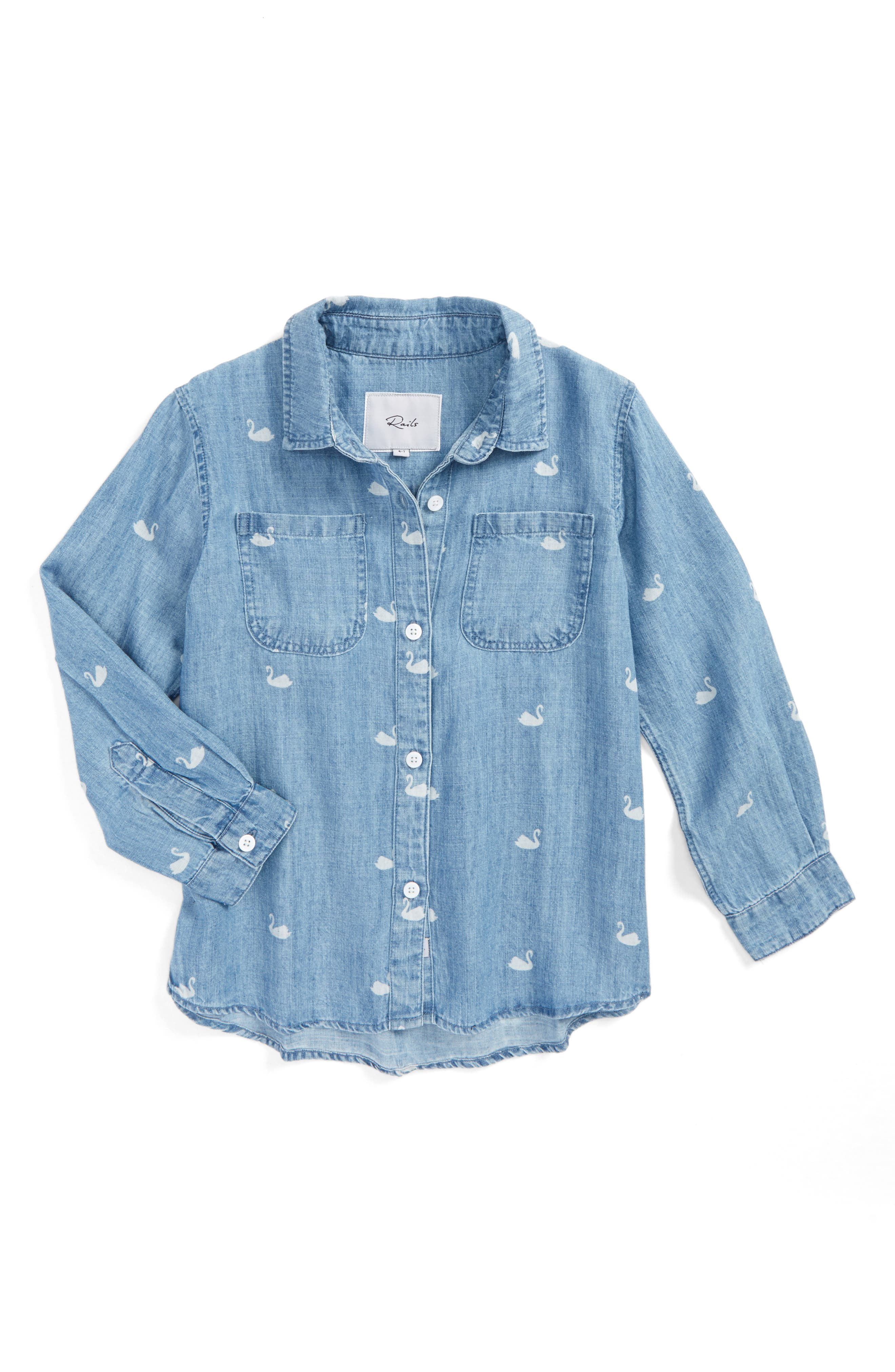 Rails Carter Swan Print Chambray Button Front Shirt (Toddler Girls, Little Girls & Big Girls)