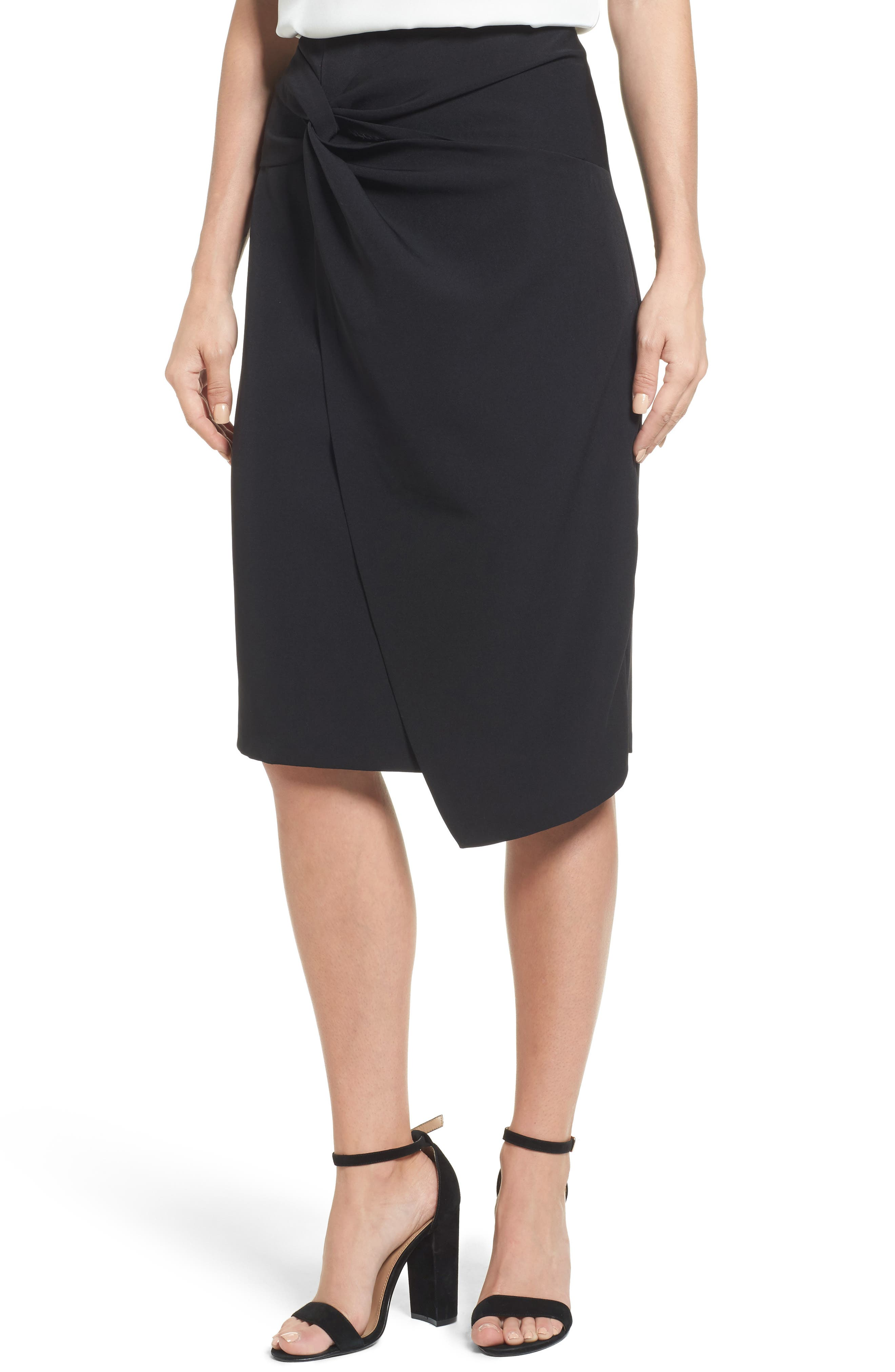 Twist Front Pencil Skirt,                             Main thumbnail 1, color,                             Black