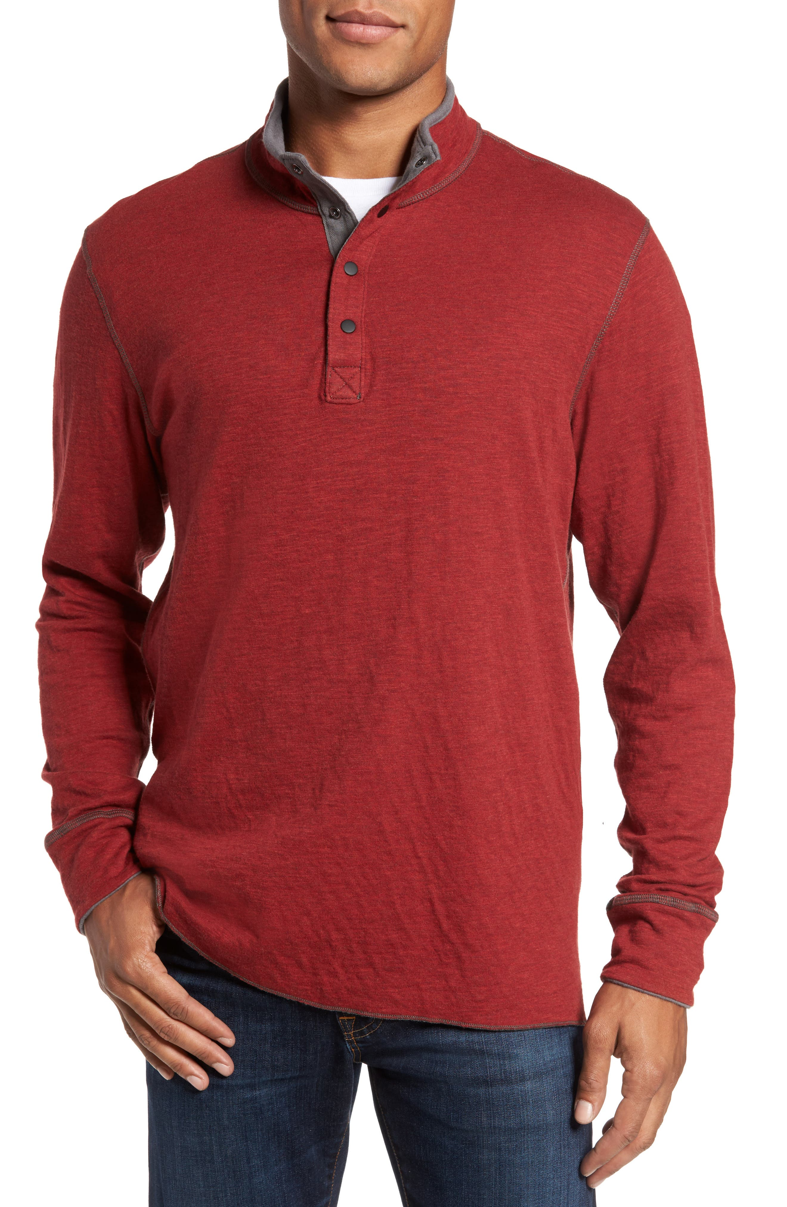 Mitch Reversible Slubbed Quarter Snap Pullover,                             Main thumbnail 1, color,                             Oxblood Heather
