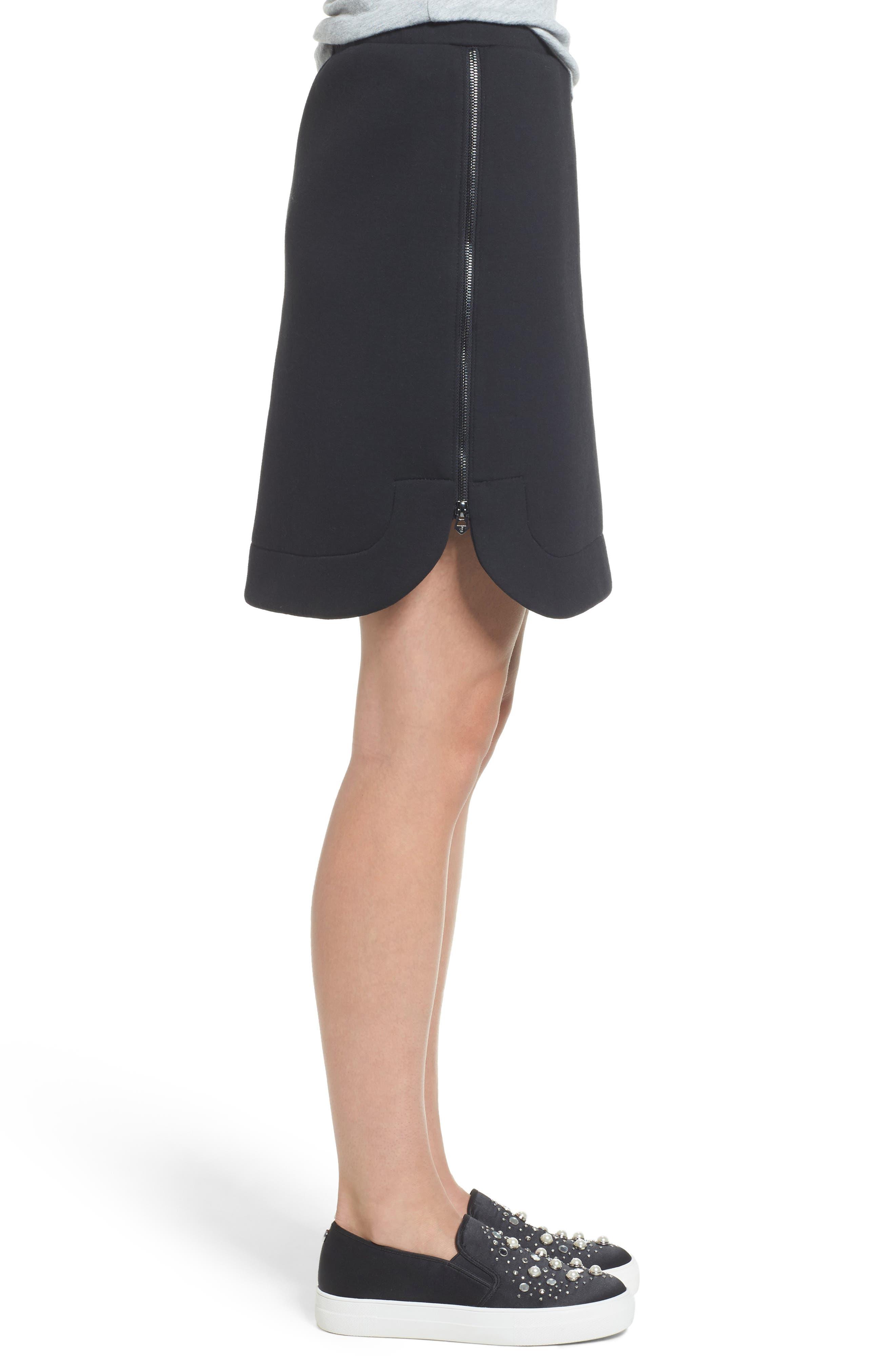 Side Zip Neoprene Skirt,                             Alternate thumbnail 3, color,                             Black