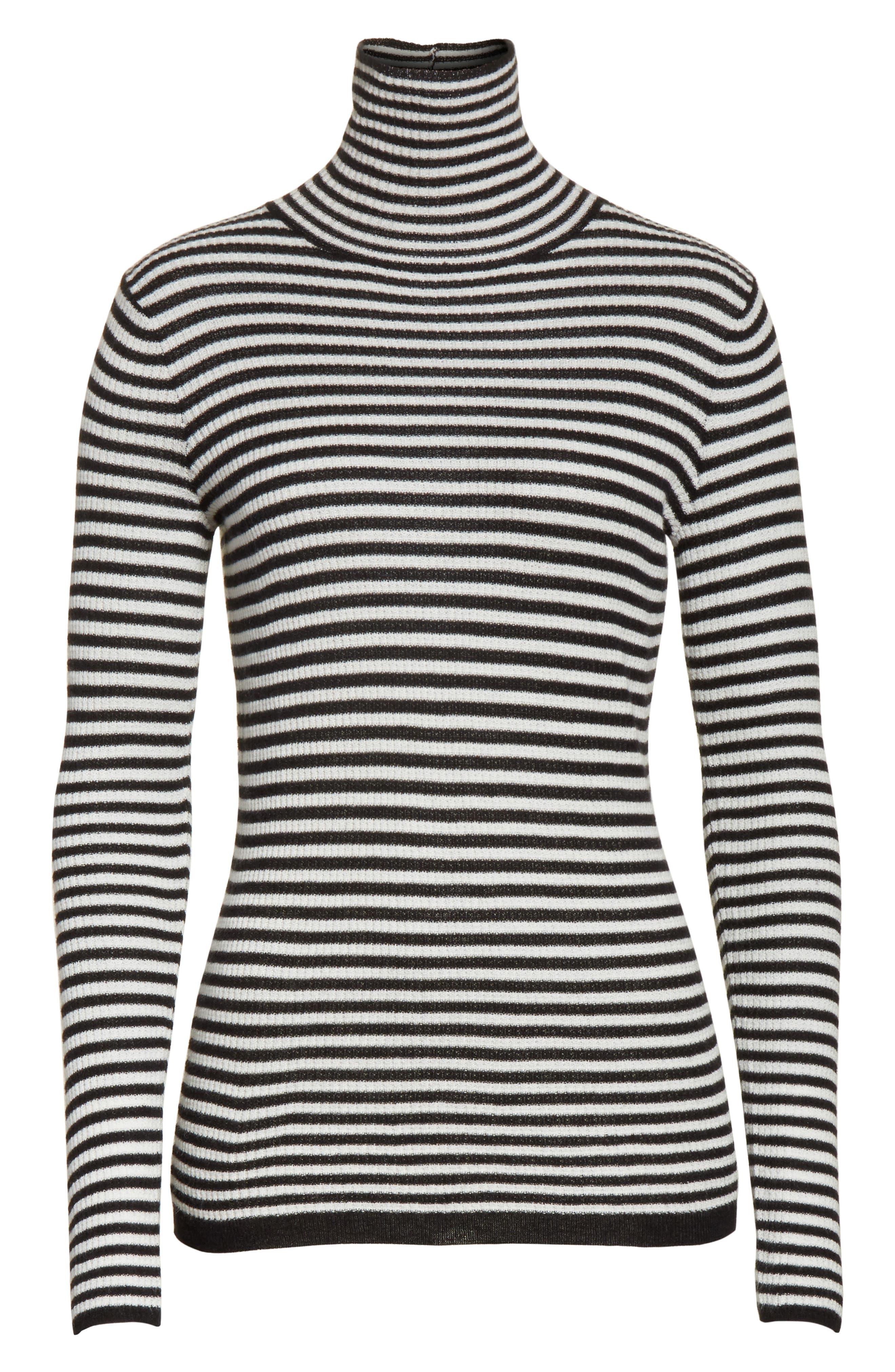 Zelene Stripe Cowl Neck Sweater,                             Alternate thumbnail 6, color,                             Caviar/ Porceclain