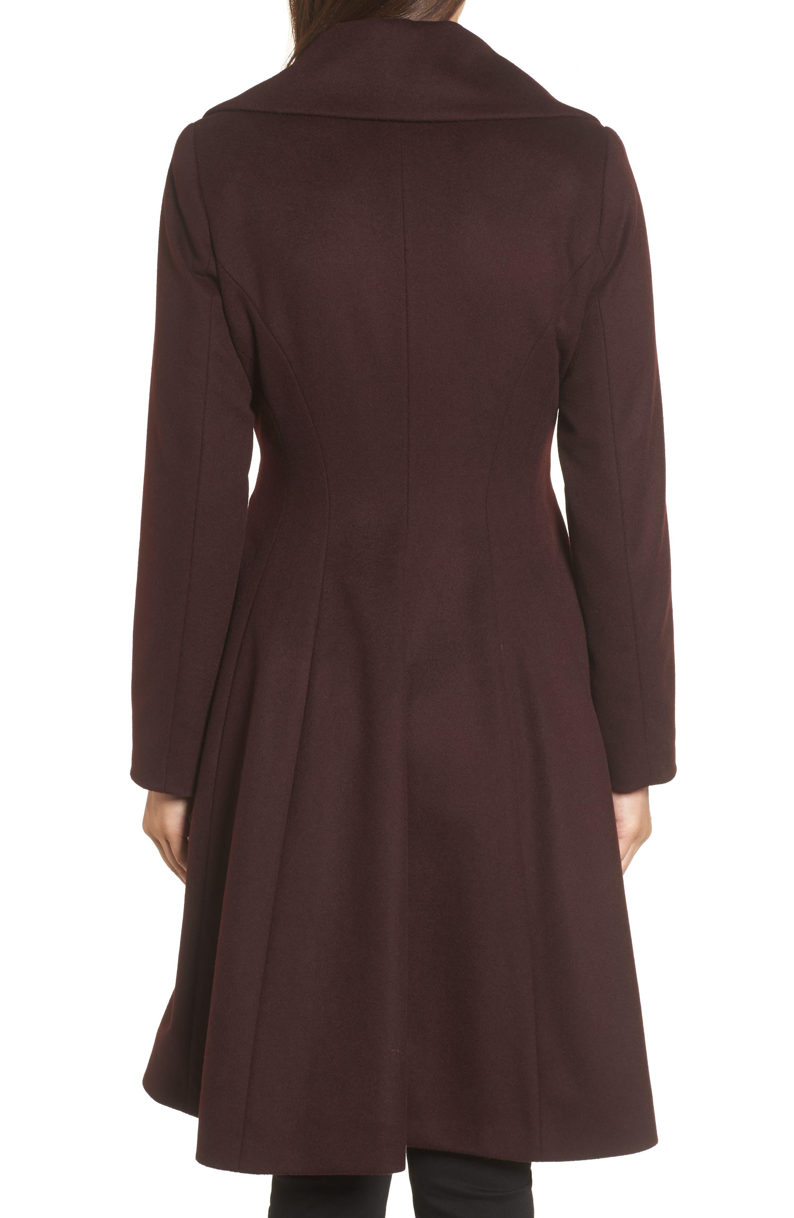 Luna Wool Blend Wrap Coat,                             Alternate thumbnail 2, color,                             Wine