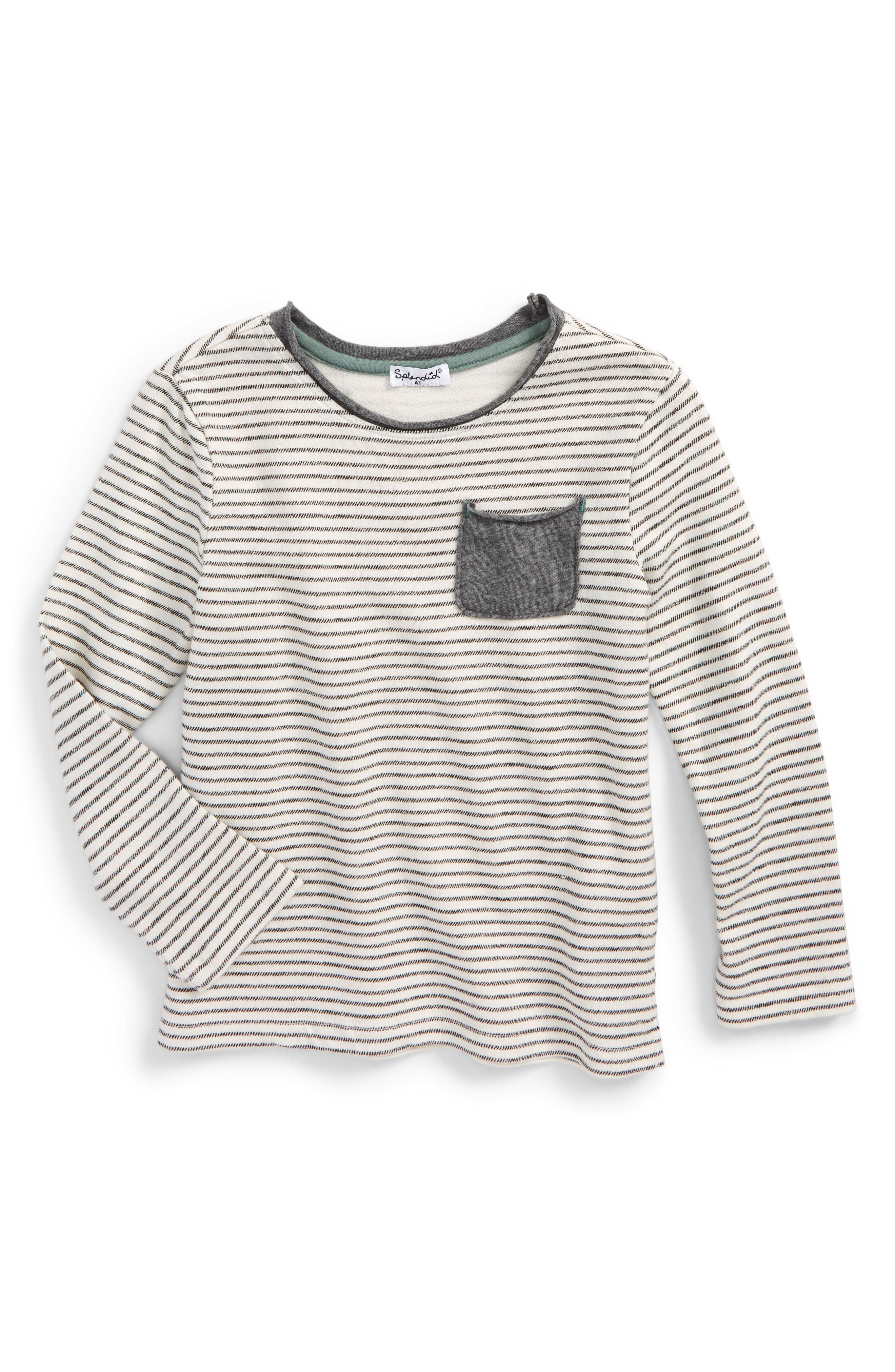 Stripe French Terry Sweatshirt,                         Main,                         color, Off White