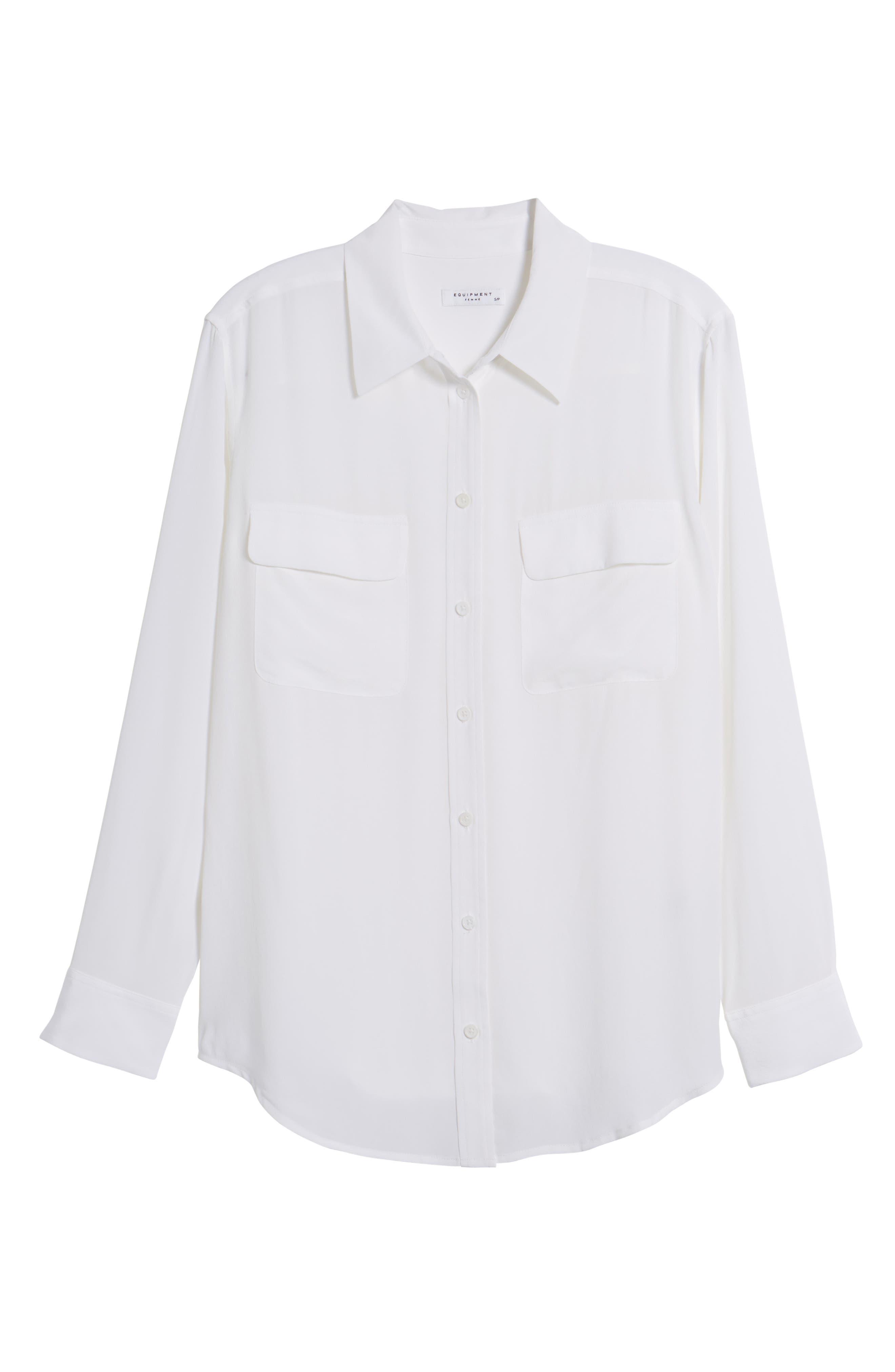 'Signature' Silk Shirt,                             Alternate thumbnail 6, color,                             Bright White