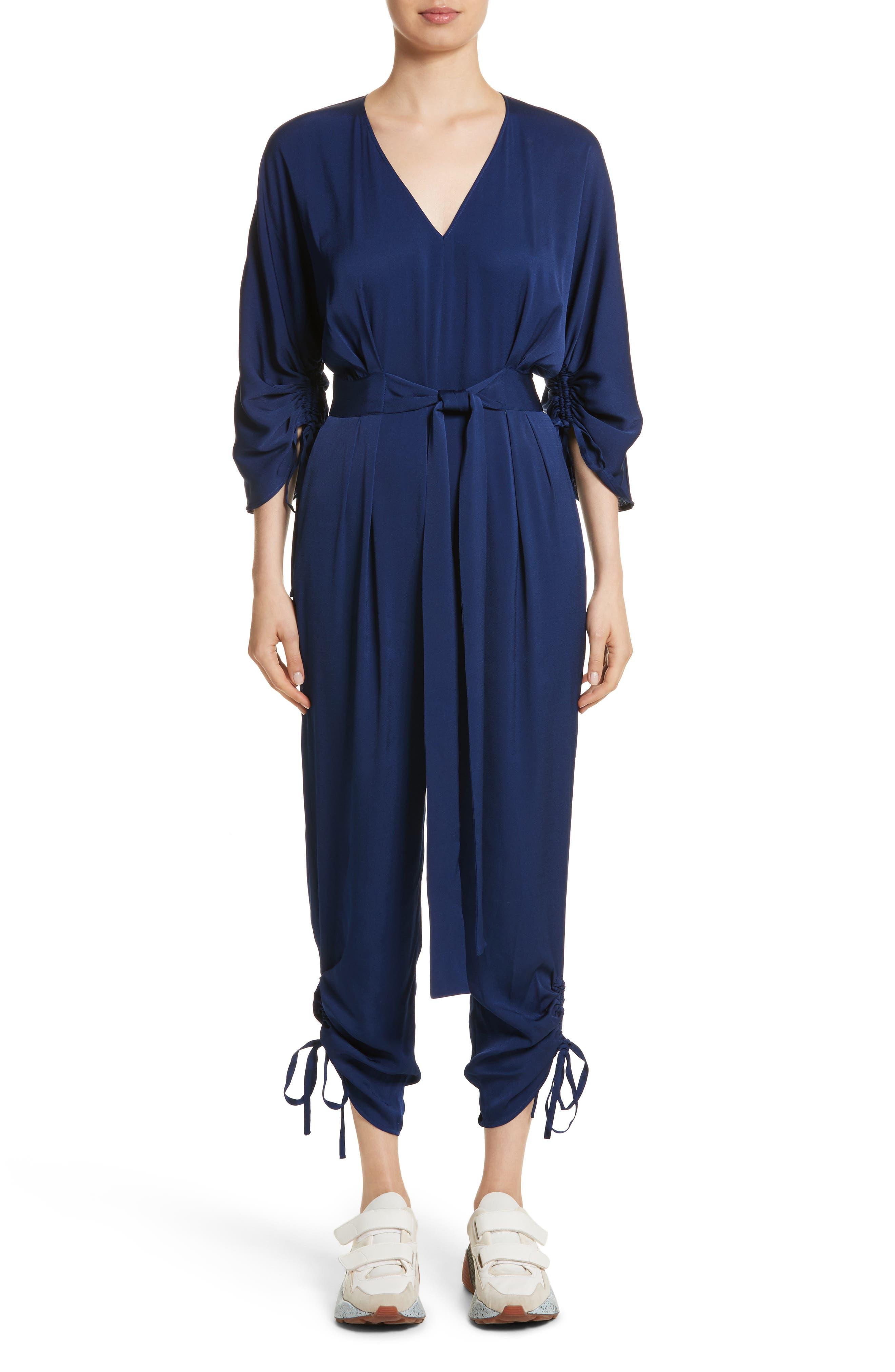 Drawstring Cady Jumpsuit,                         Main,                         color, Sapphire Blue