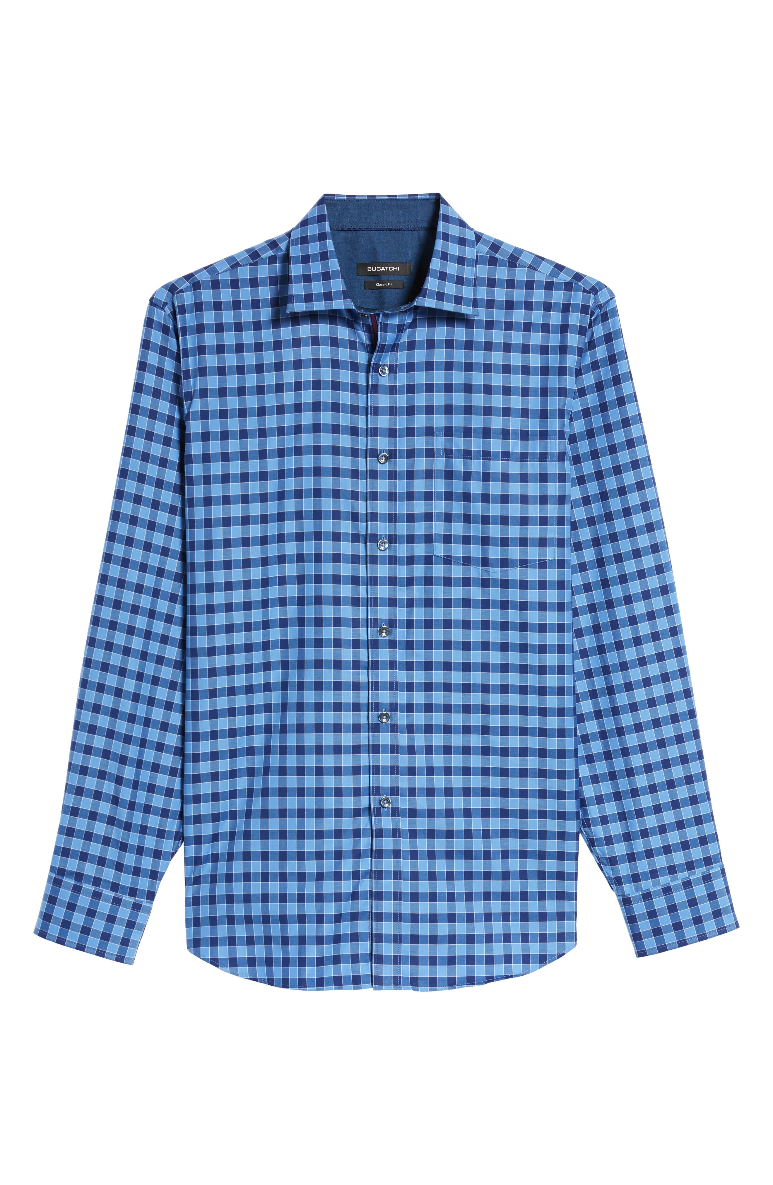 Classic Fit Check Sport Shirt,                             Alternate thumbnail 6, color,                             Navy