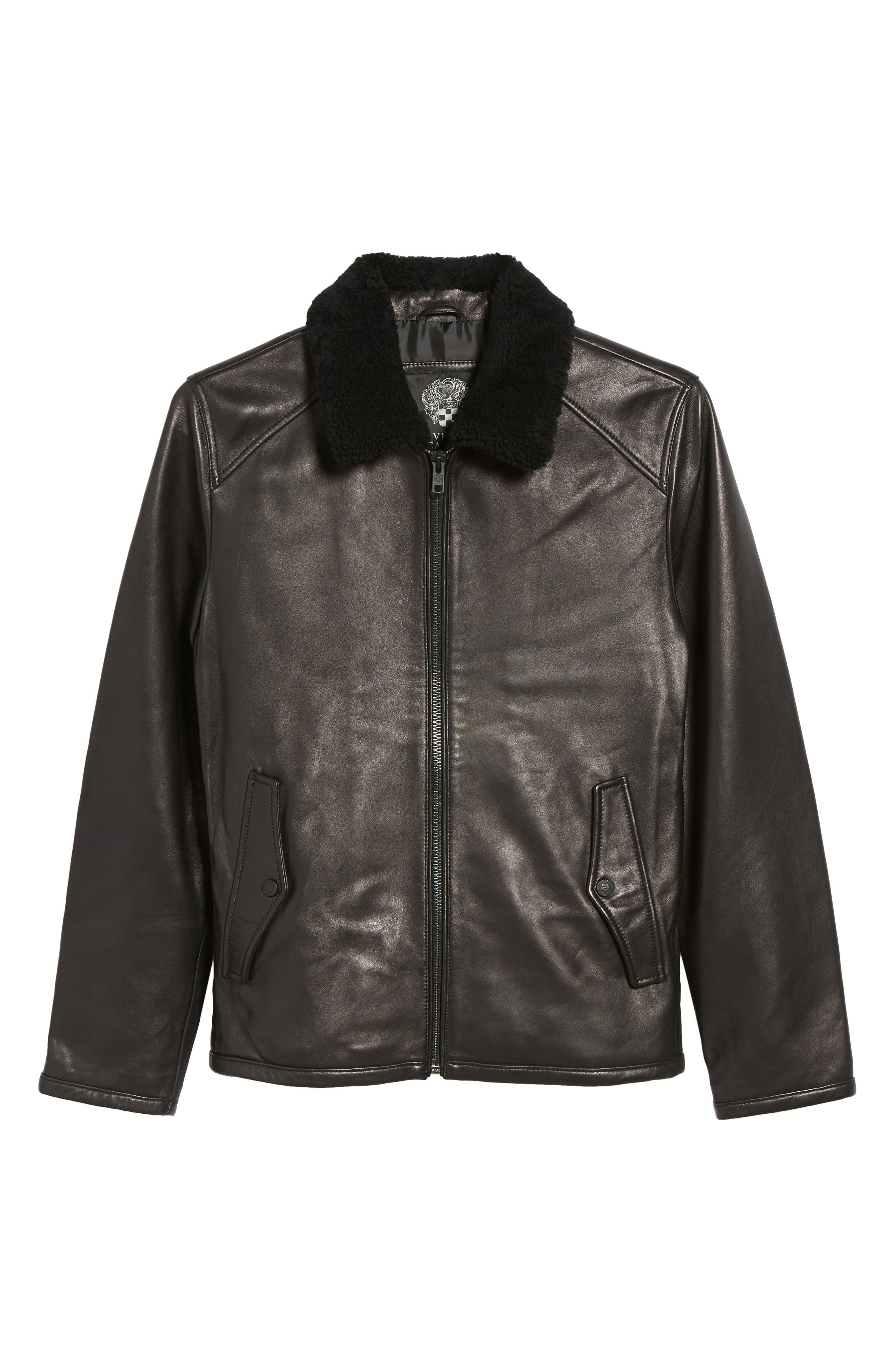 Genuine Shearling Leather Jacket,                             Alternate thumbnail 5, color,                             Black