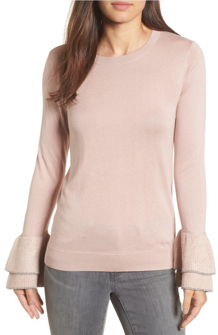 Main Image - Halogen® Metallic Trim Flare Cuff Sweater (Regular & Petite)