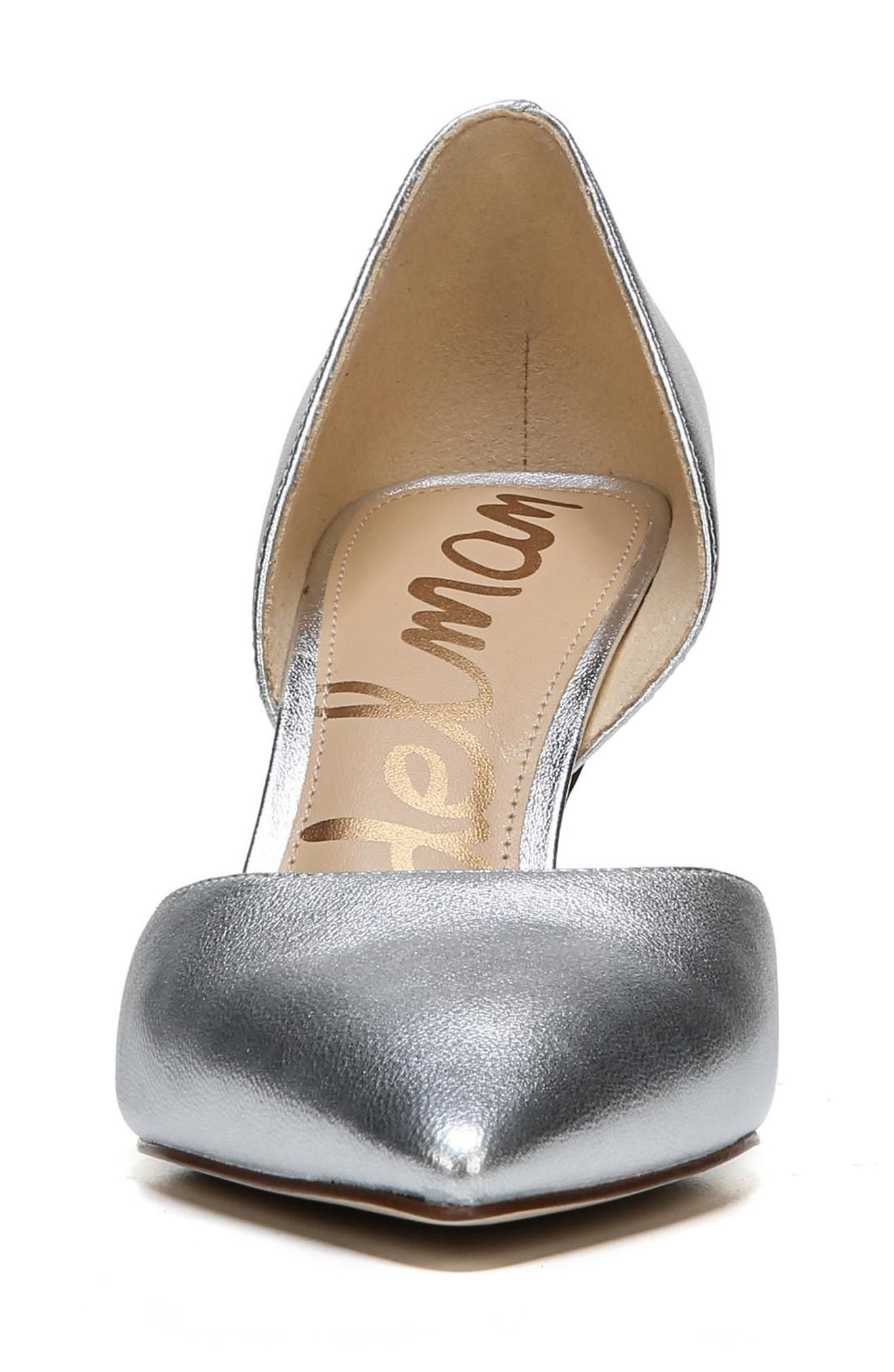 'Telsa' d'Orsay Pointy Toe Pump,                             Alternate thumbnail 4, color,                             Soft Silver Leather