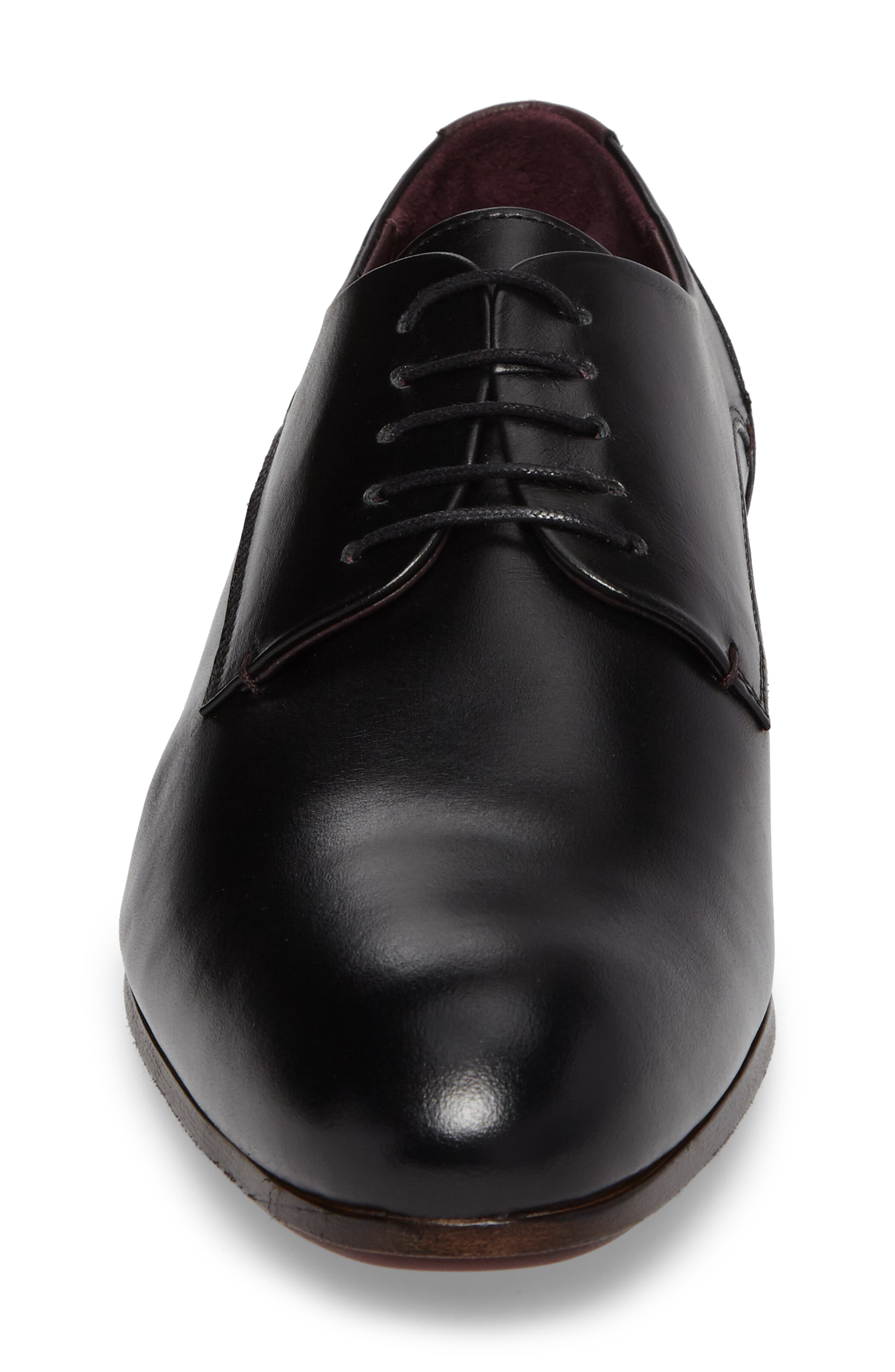 Avionn Plain Toe Derby,                             Alternate thumbnail 4, color,                             Black Leather