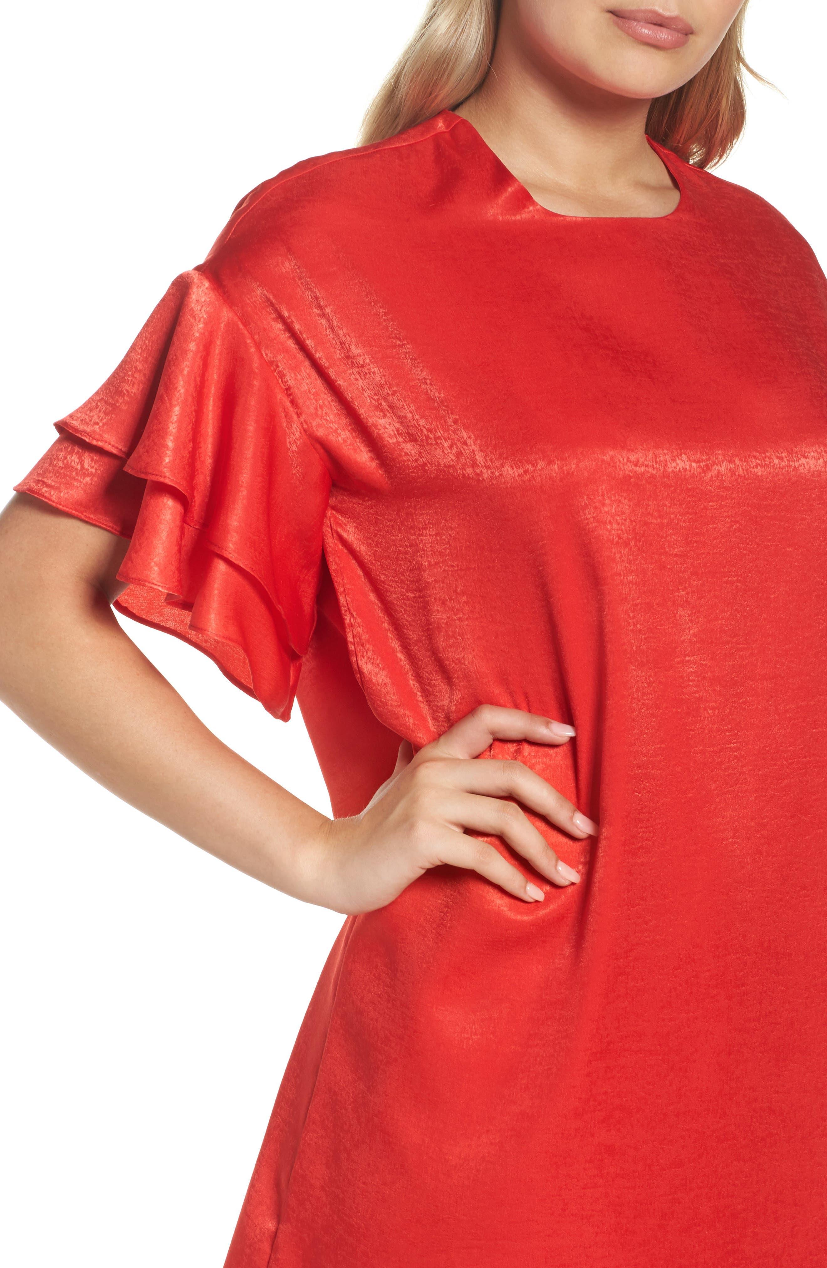 Alternate Image 4  - NSR Ruffle Charmeuse Shift Dress