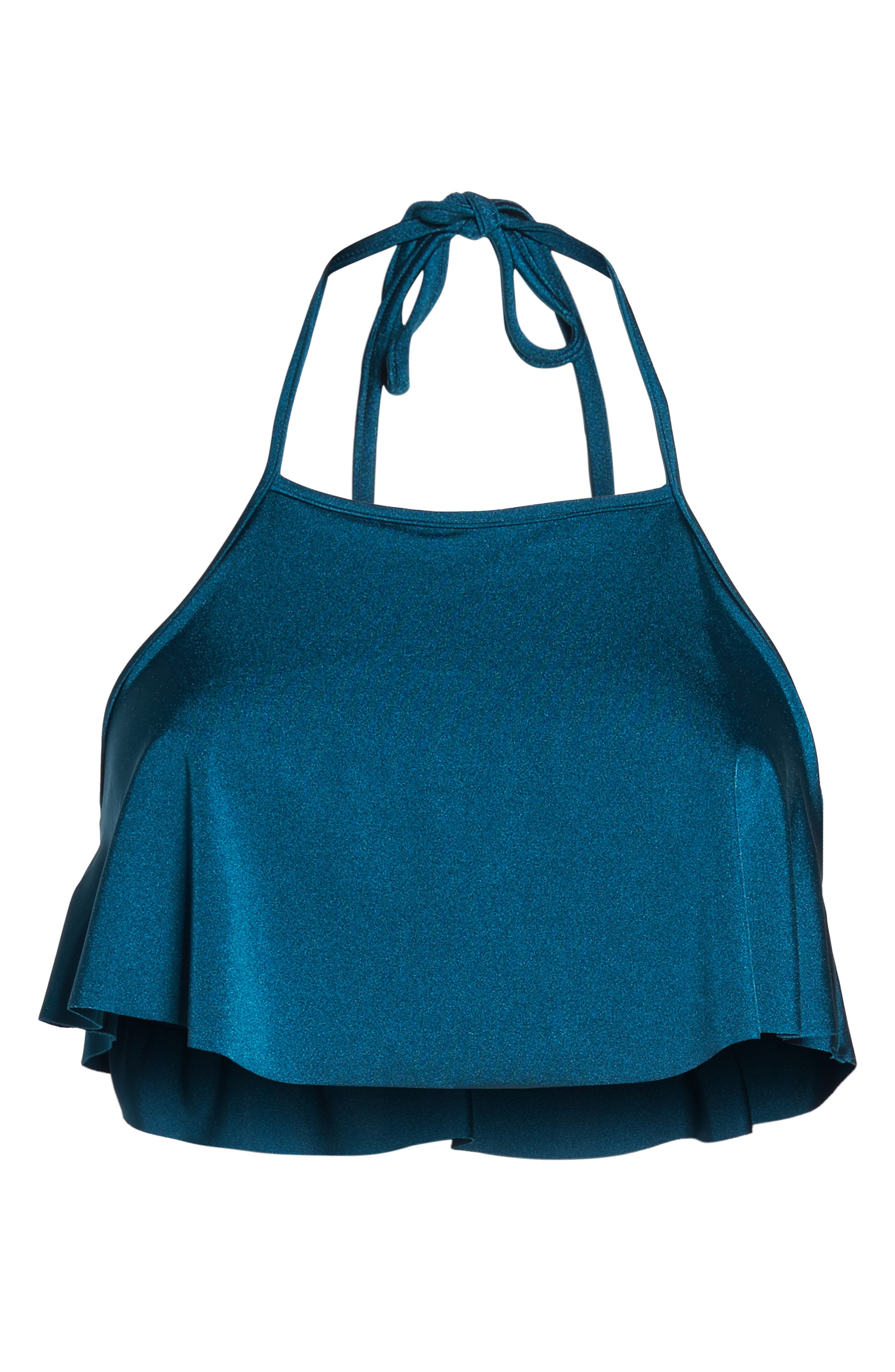Halter Ruffle Bikini Top,                             Alternate thumbnail 6, color,                             Seagrass