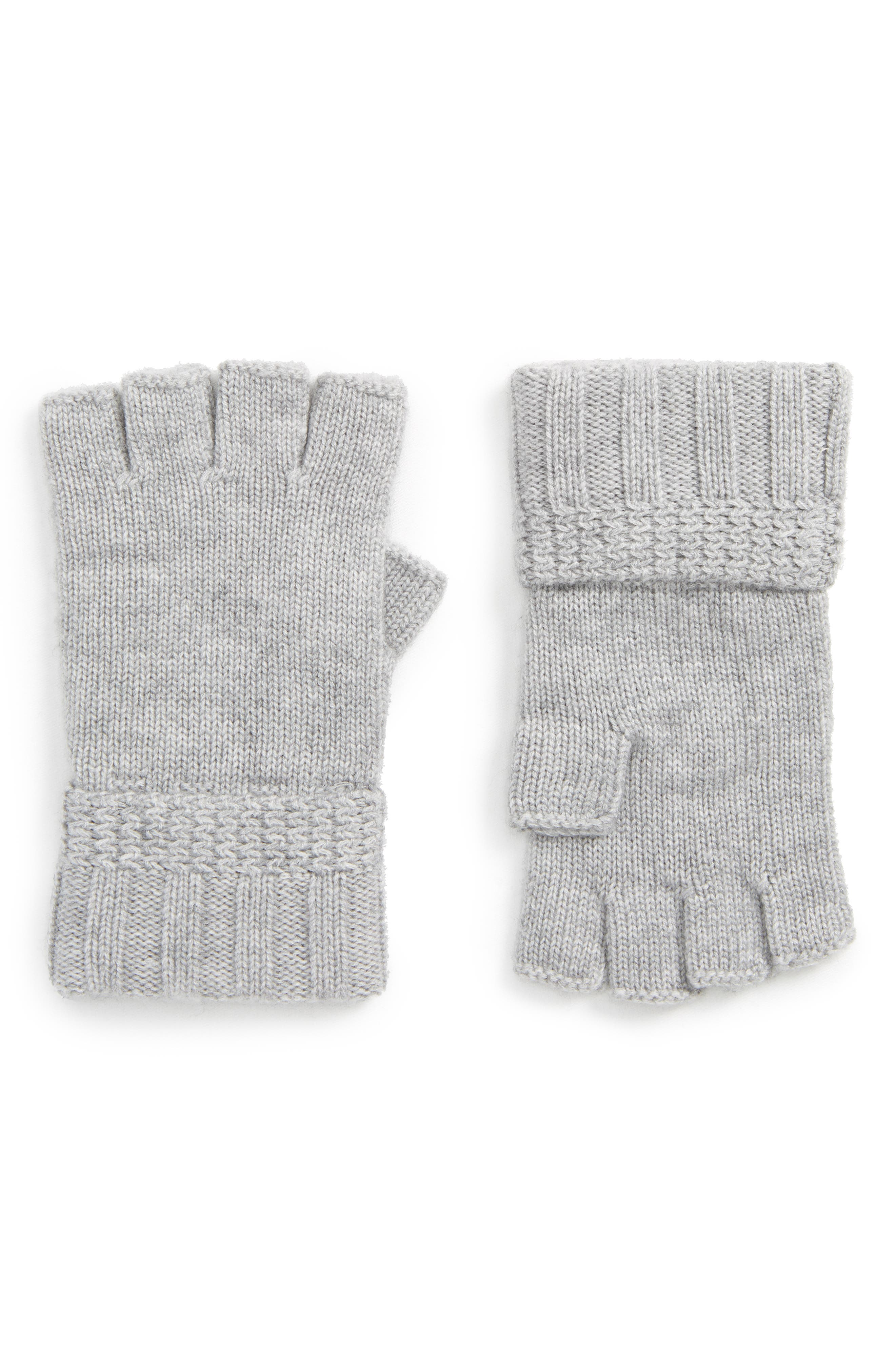 UGG<sup>®</sup> Texture Knit Fingerless Gloves,                         Main,                         color, Sterling Heather