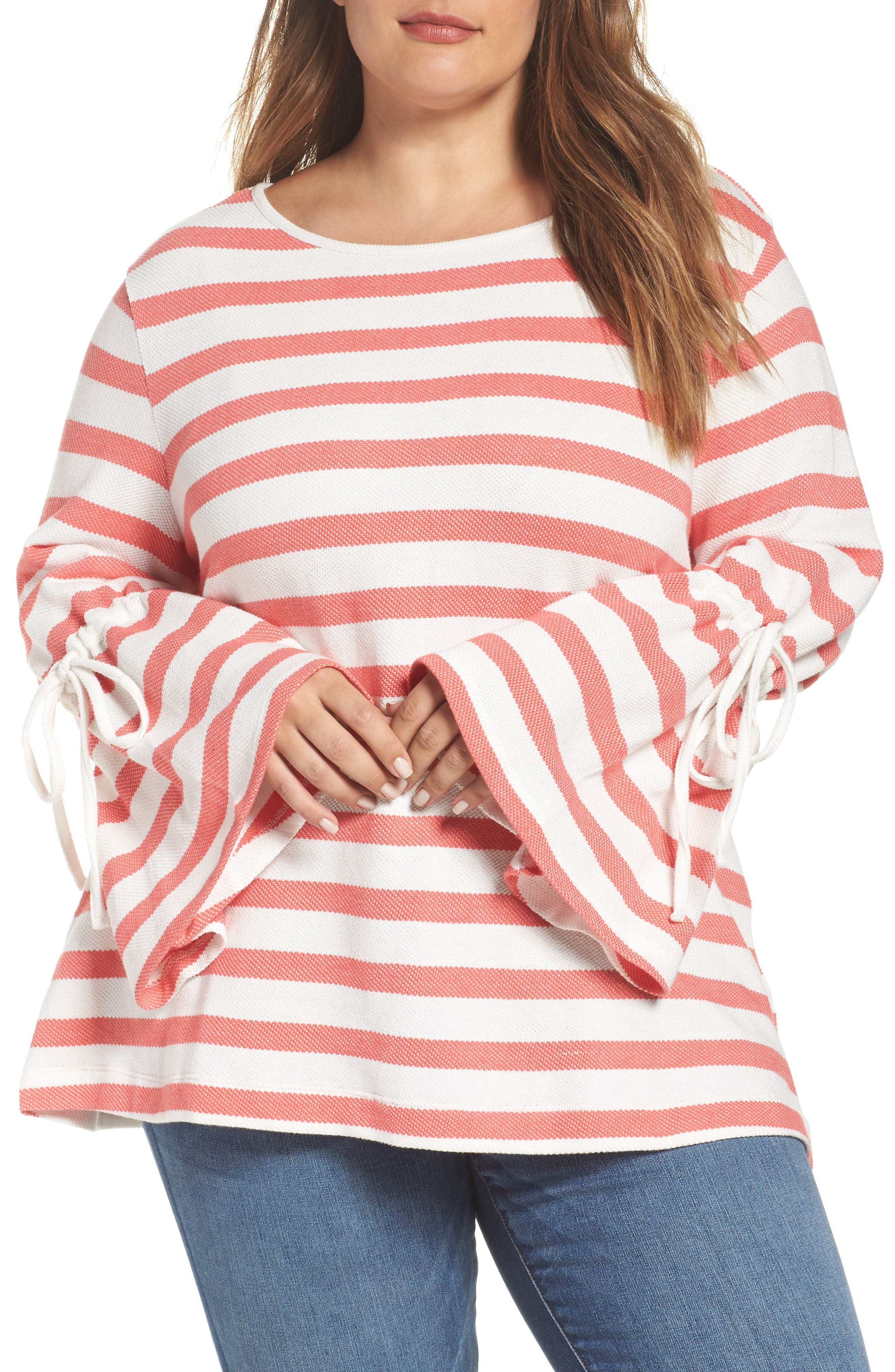 Stripe Bell Sleeve Top,                         Main,                         color, Coral- Ivory Stripe