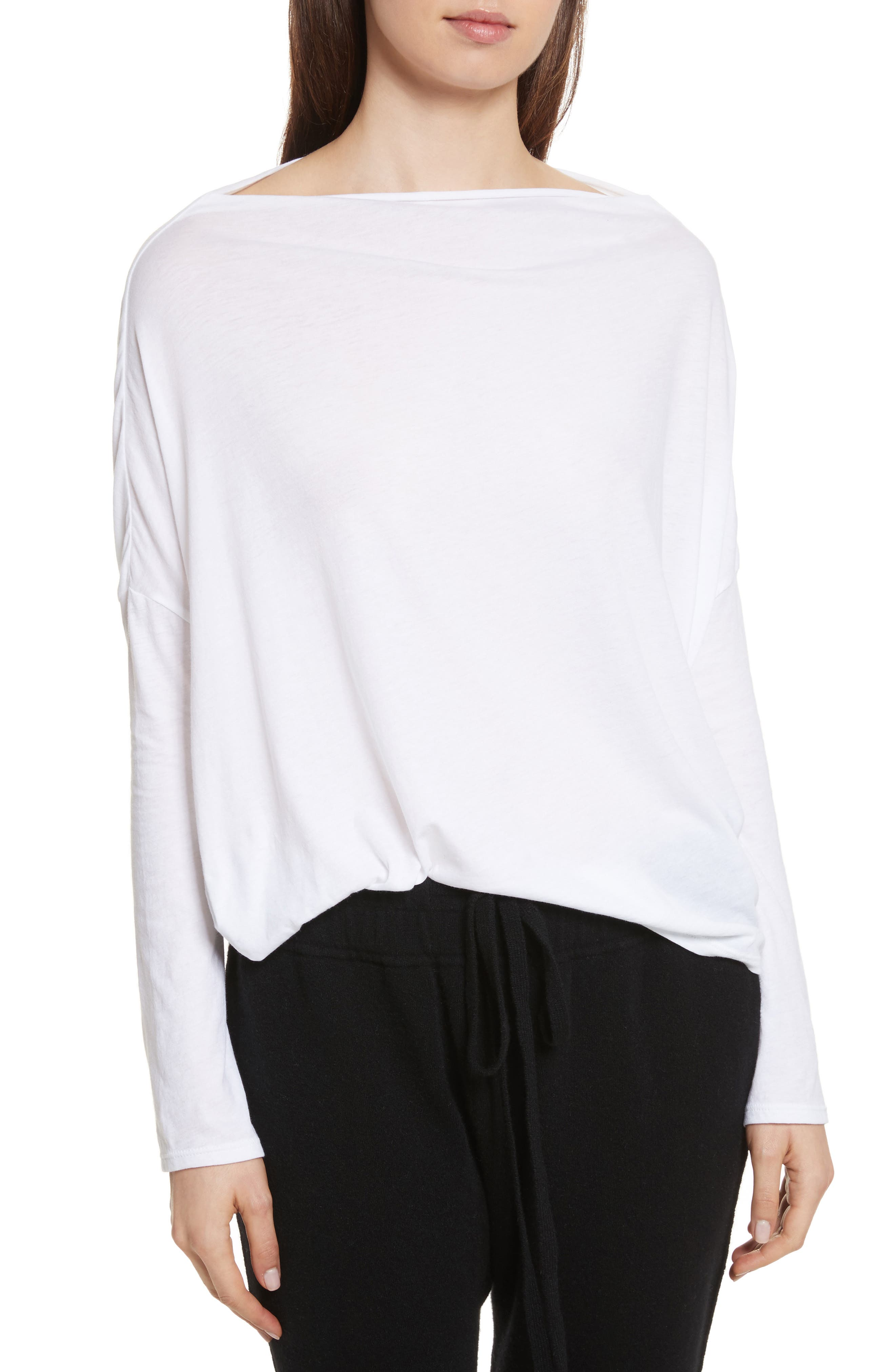 Boat Neck Top,                         Main,                         color, Optic White