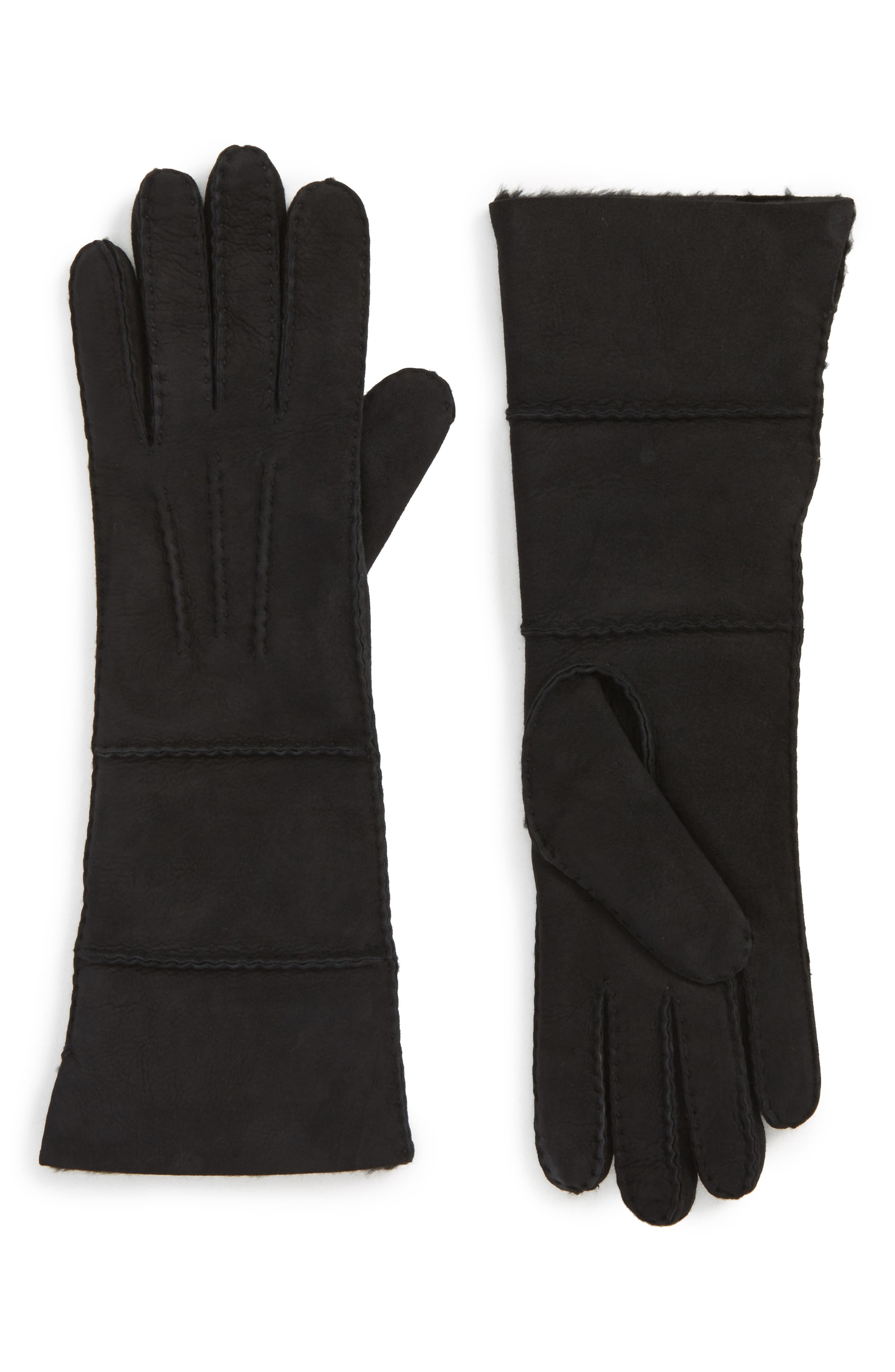 UGG<sup>®</sup> Long Slim Genuine Shearling Gloves,                             Main thumbnail 1, color,                             Black