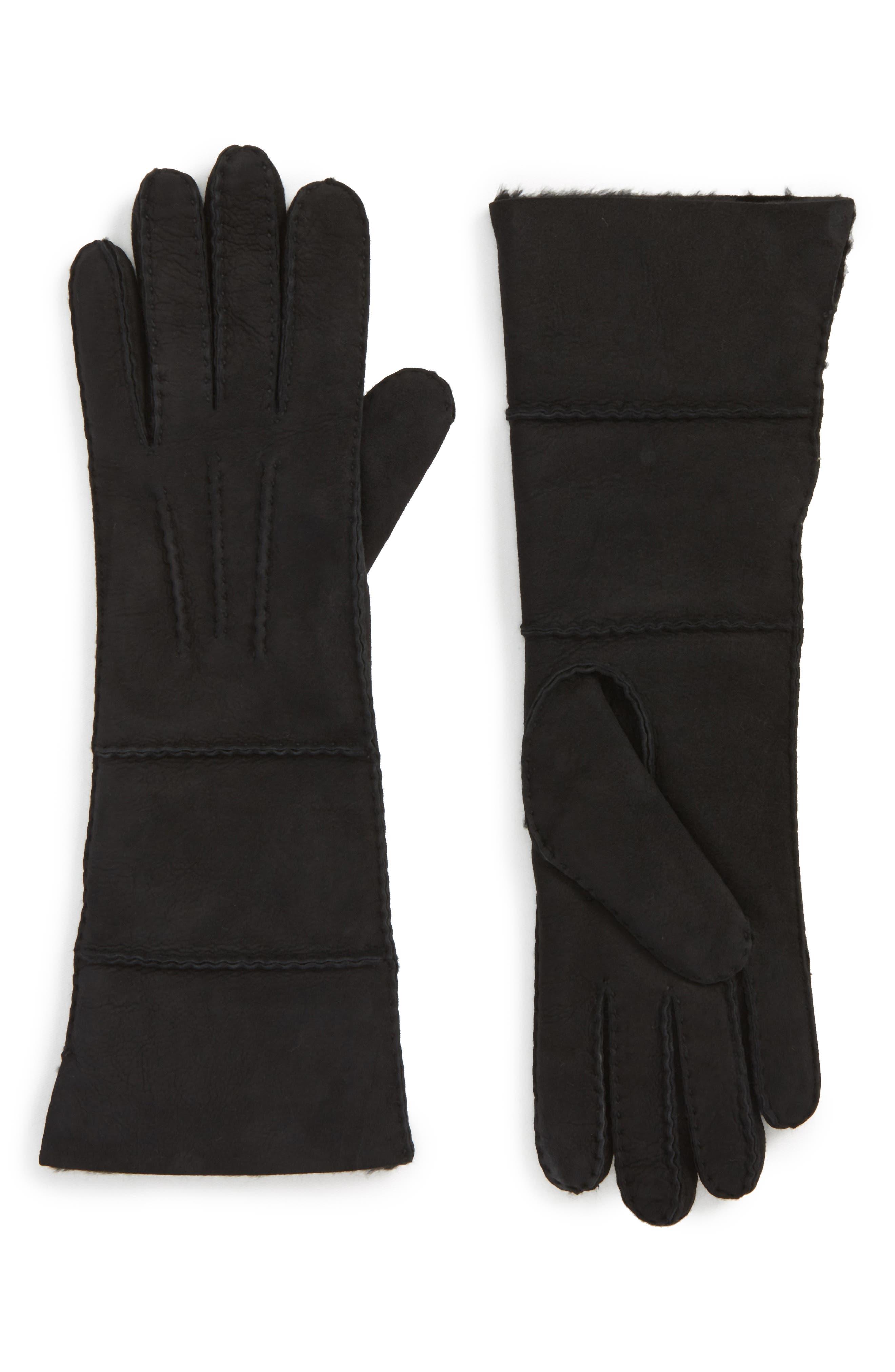 UGG<sup>®</sup> Long Slim Genuine Shearling Gloves,                         Main,                         color, Black