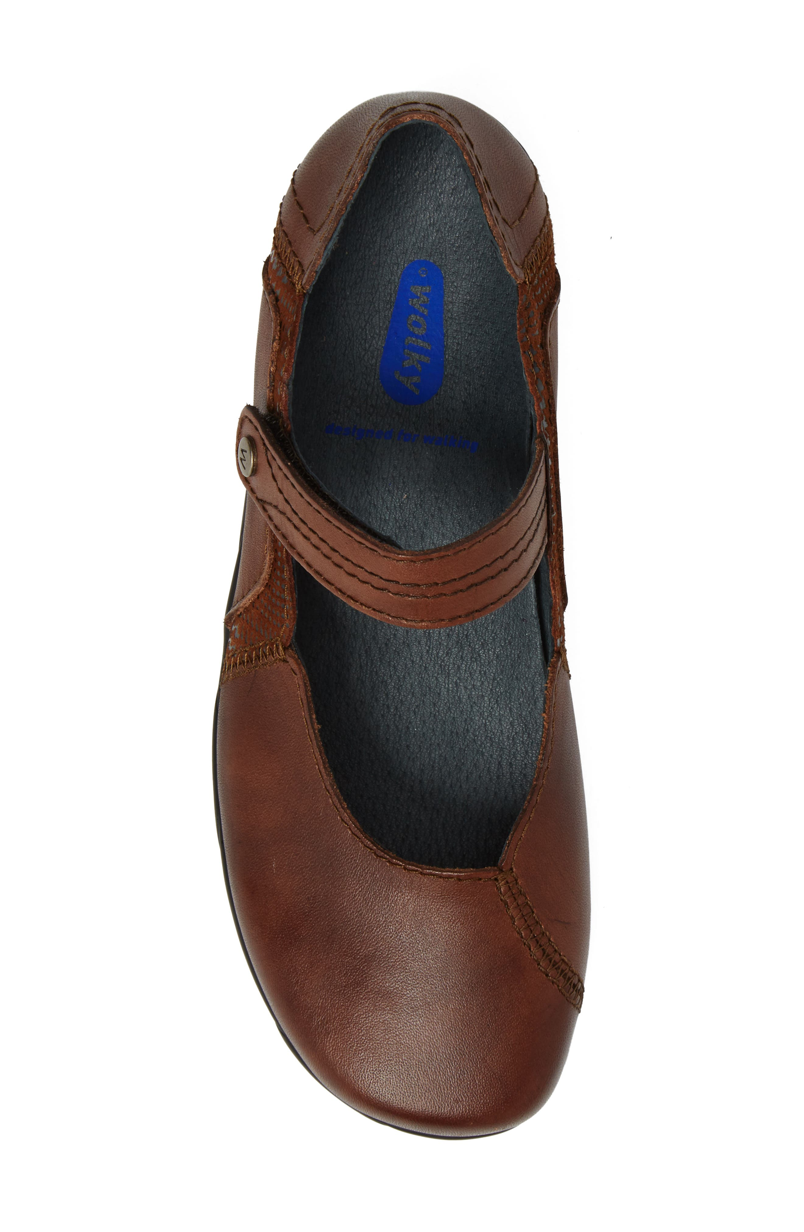 Gila Mary-Jane Flat,                             Alternate thumbnail 5, color,                             Cognac Leather