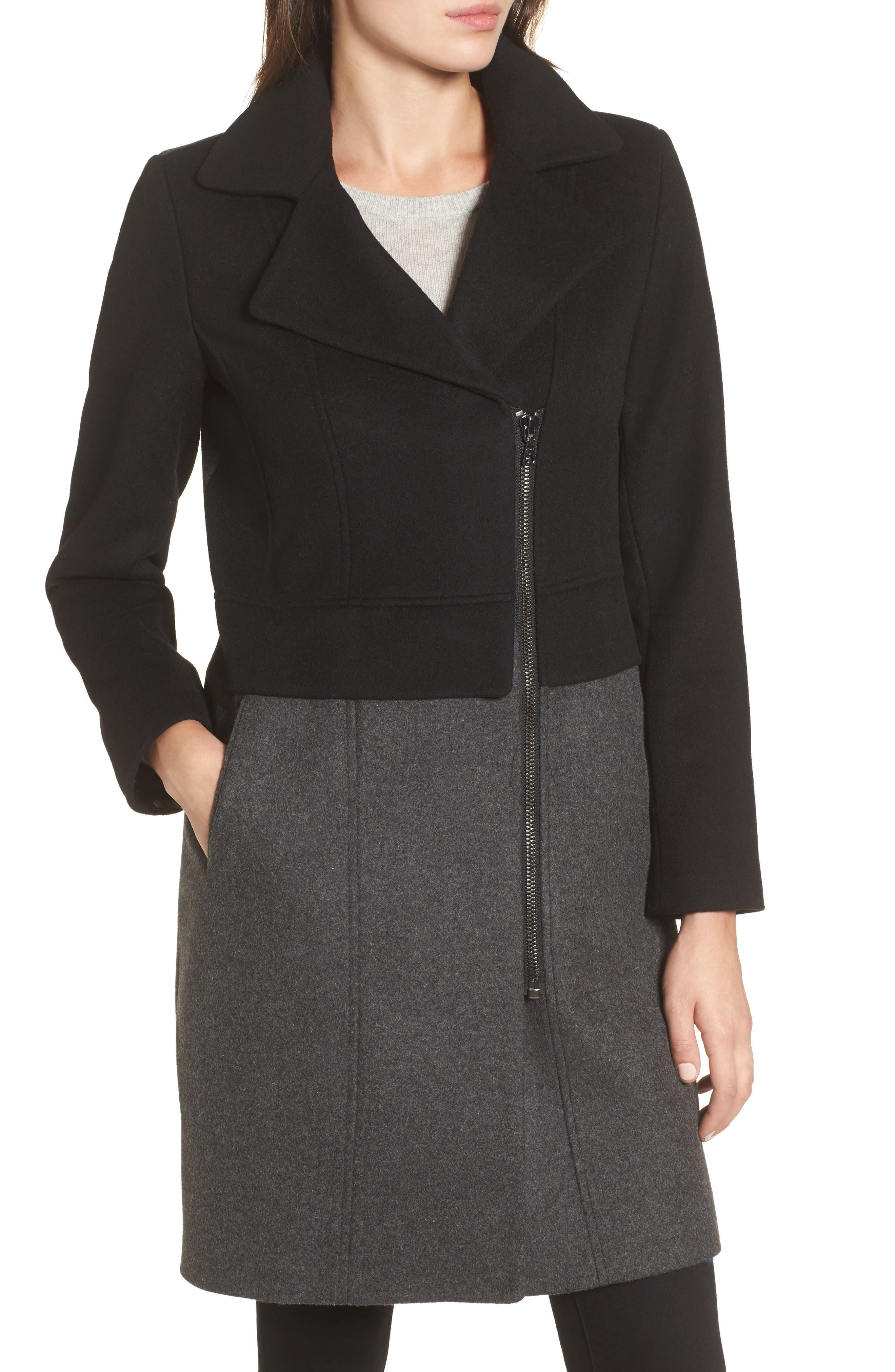 Brooklyn Colorblock Coat,                             Alternate thumbnail 3, color,                             Grey/ Black