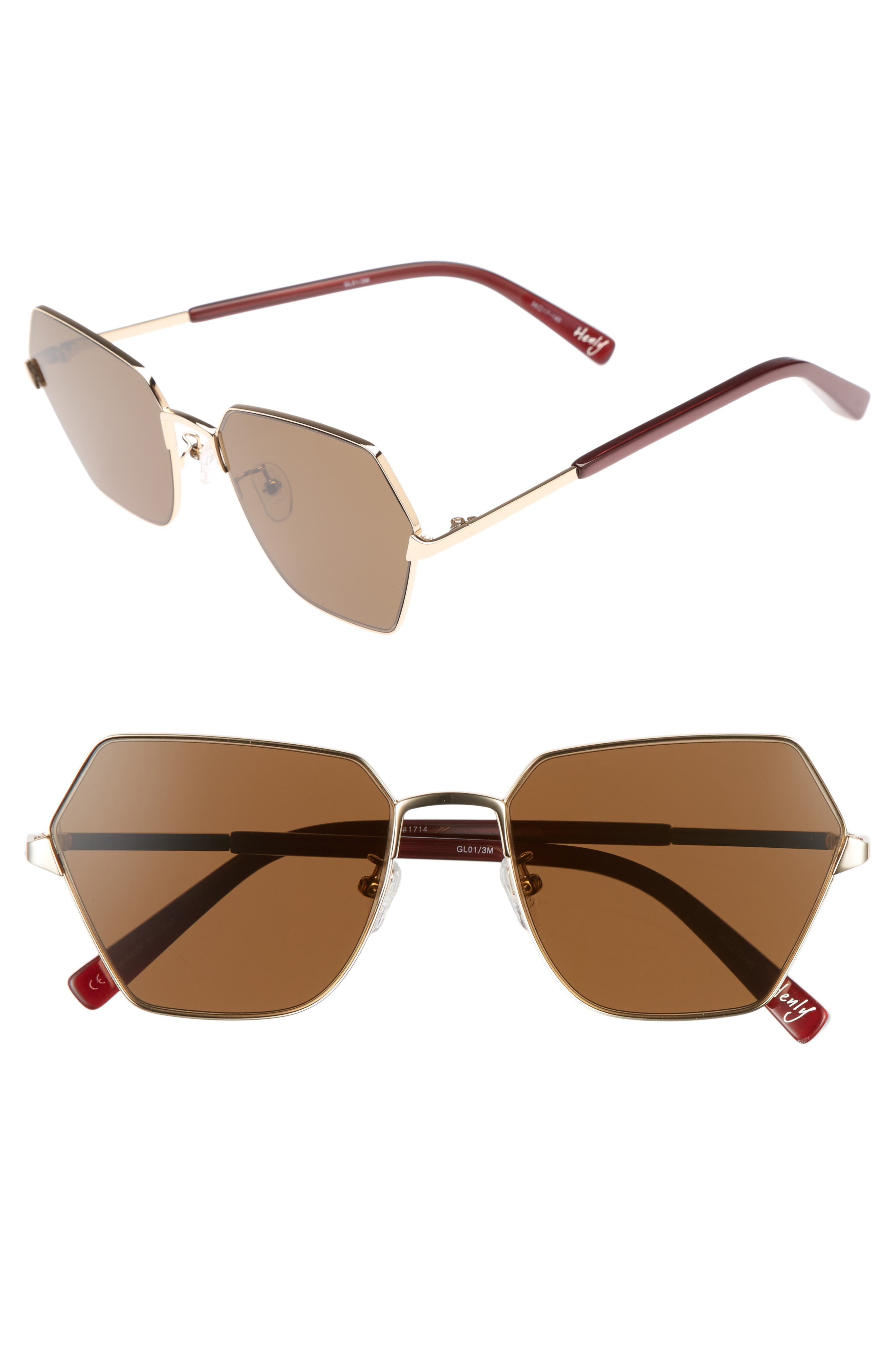 Henly 56mm Sunglasses,                             Main thumbnail 1, color,                             Gold