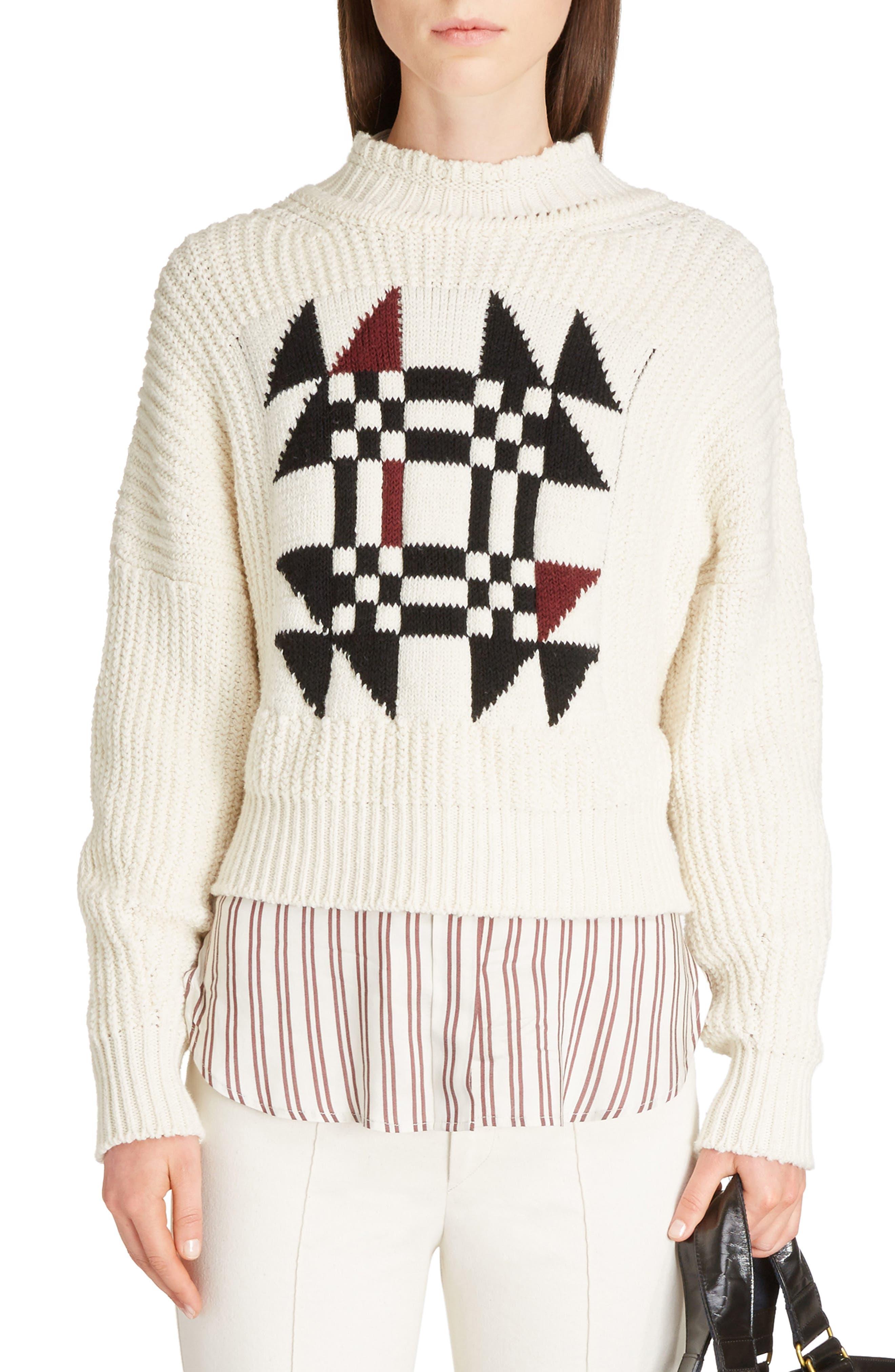 Lawrie Origami Cotton & Wool Blend Sweater,                         Main,                         color, Ecru