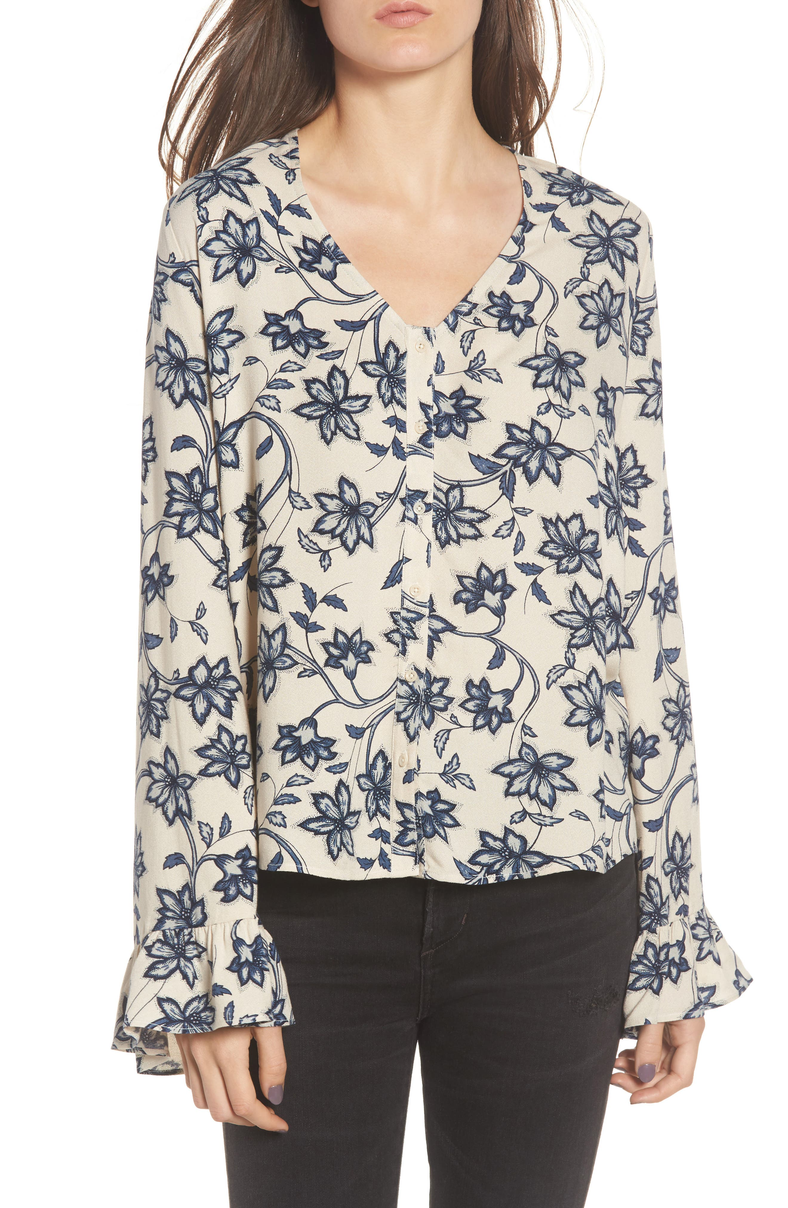 Ruffle Sleeve Blouse,                         Main,                         color, Beige Whisper Burnt Floral