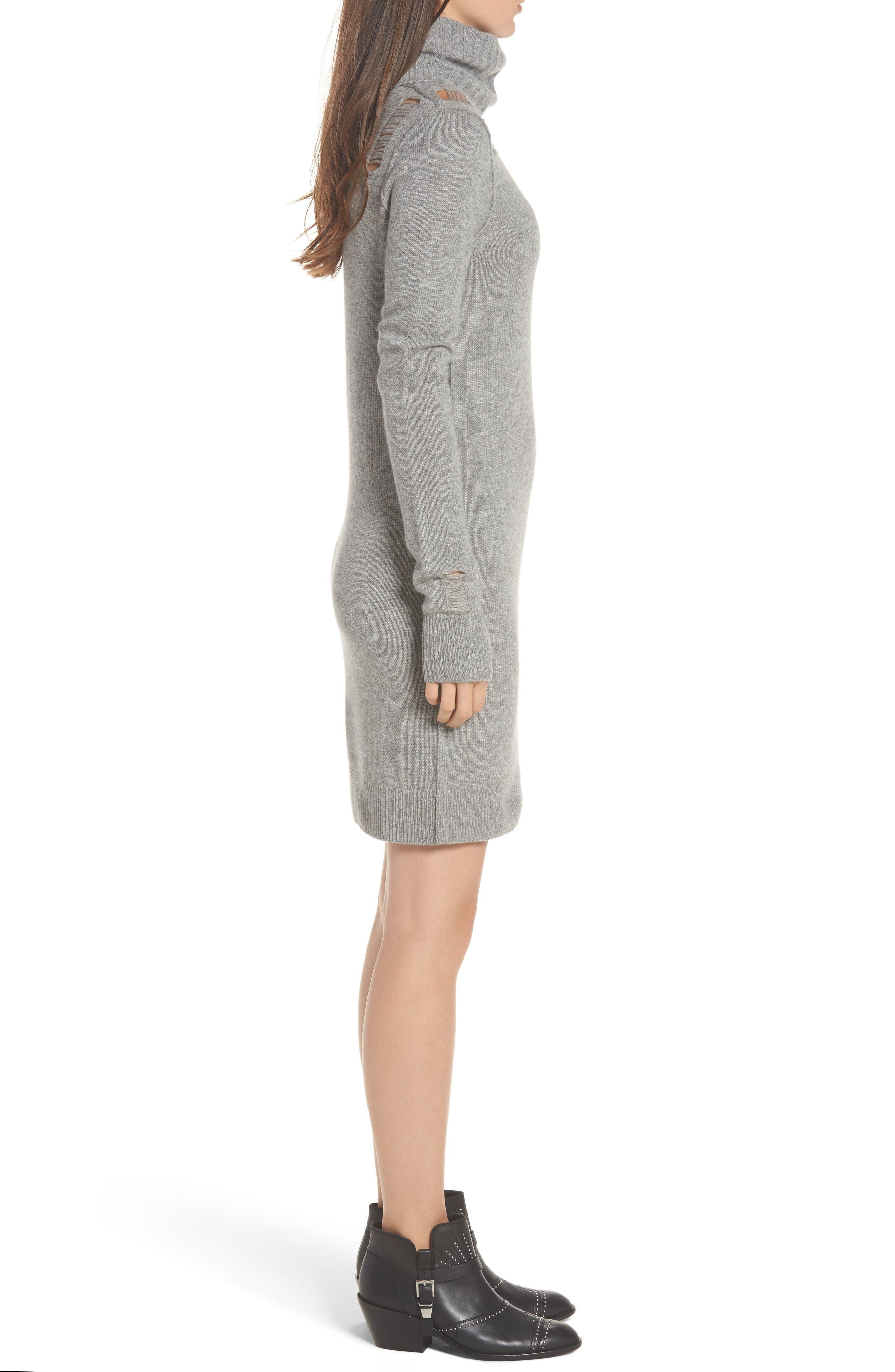 Destroyed Turtleneck Sweater Dress,                             Alternate thumbnail 3, color,                             Heather Grey
