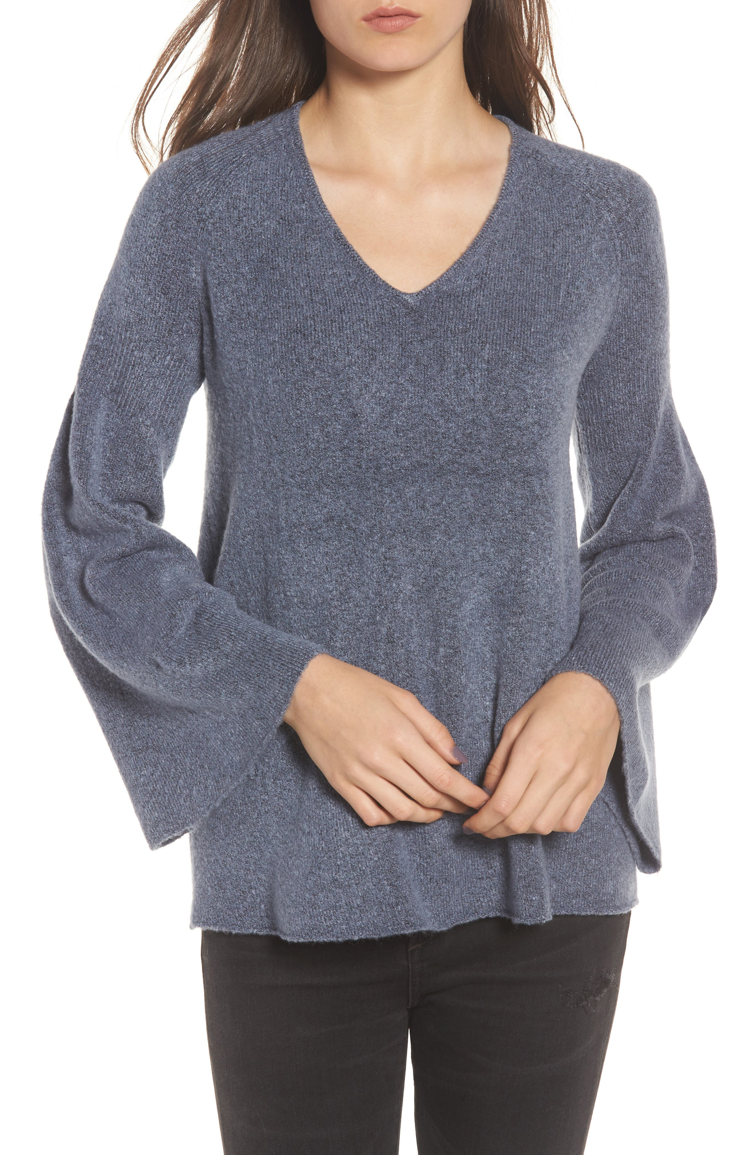 Bell Sleeve Sweater,                         Main,                         color, Blue Vintage Rainbow Multi