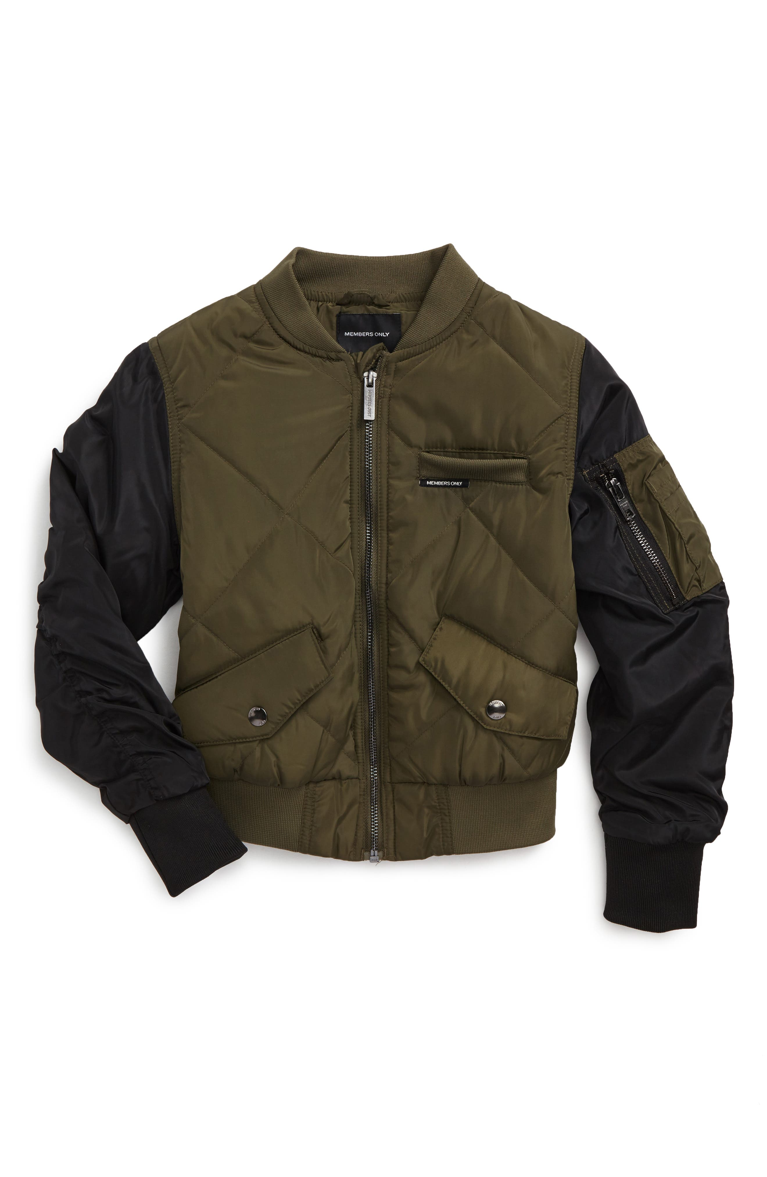 Main Image - Members Only Quilted Bomber Jacket (Big Girls)