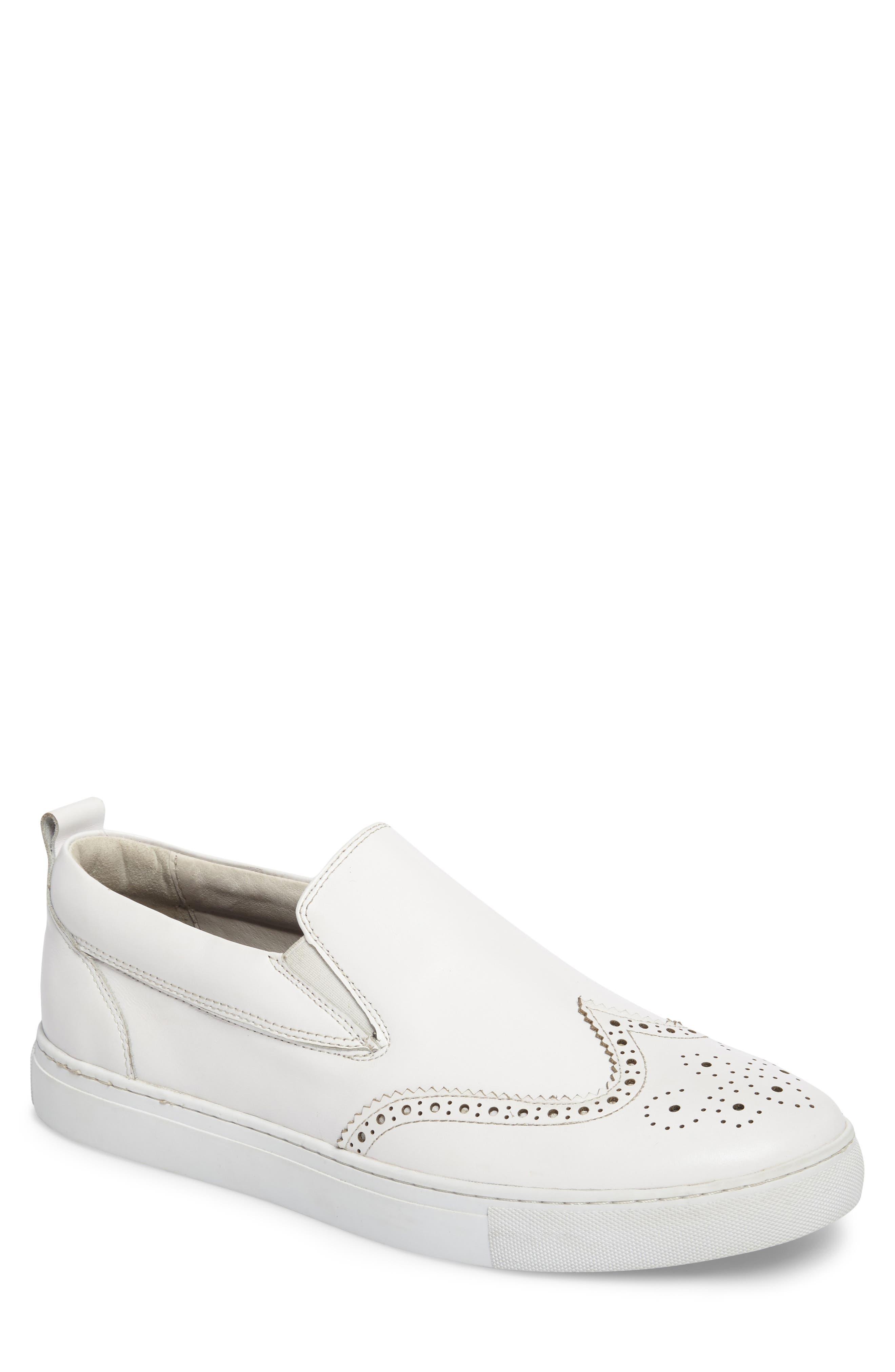 Ali Wingtip Slip-On Sneaker,                             Main thumbnail 1, color,                             White Leather