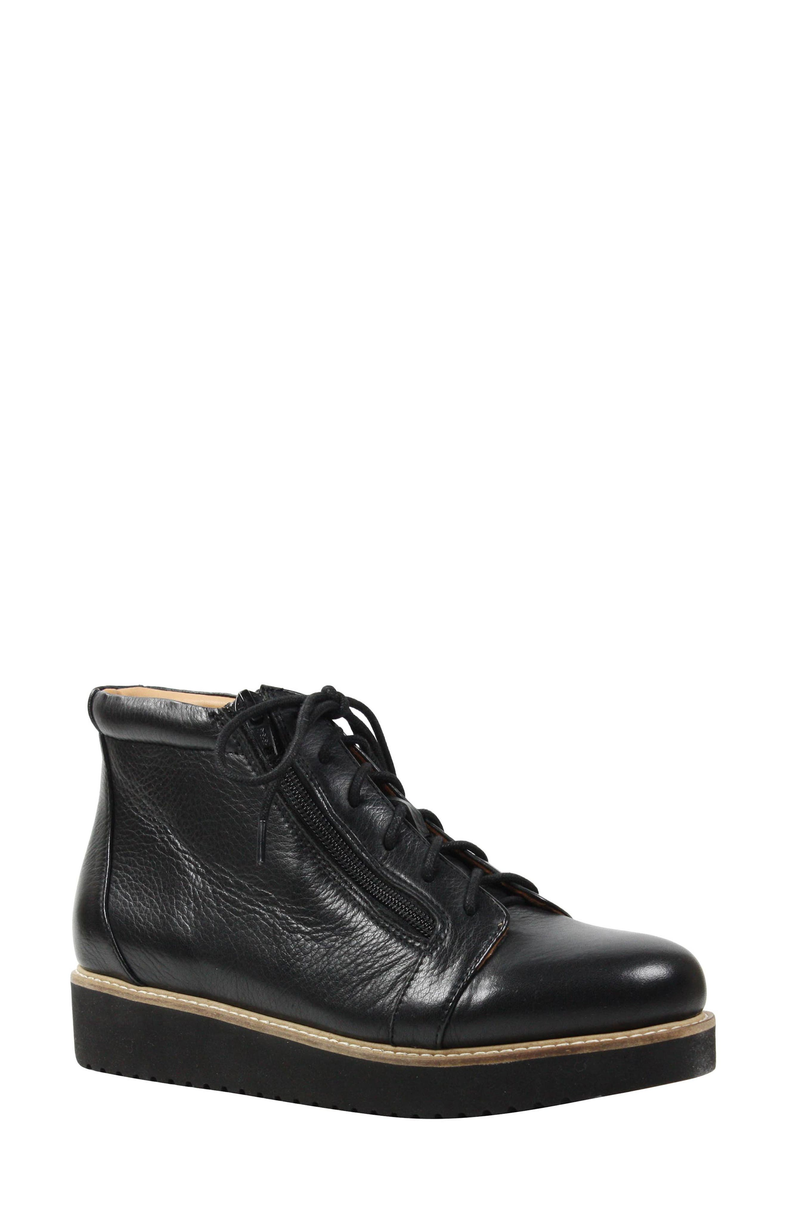 Xandrie Bootie,                             Main thumbnail 1, color,                             Black Leather