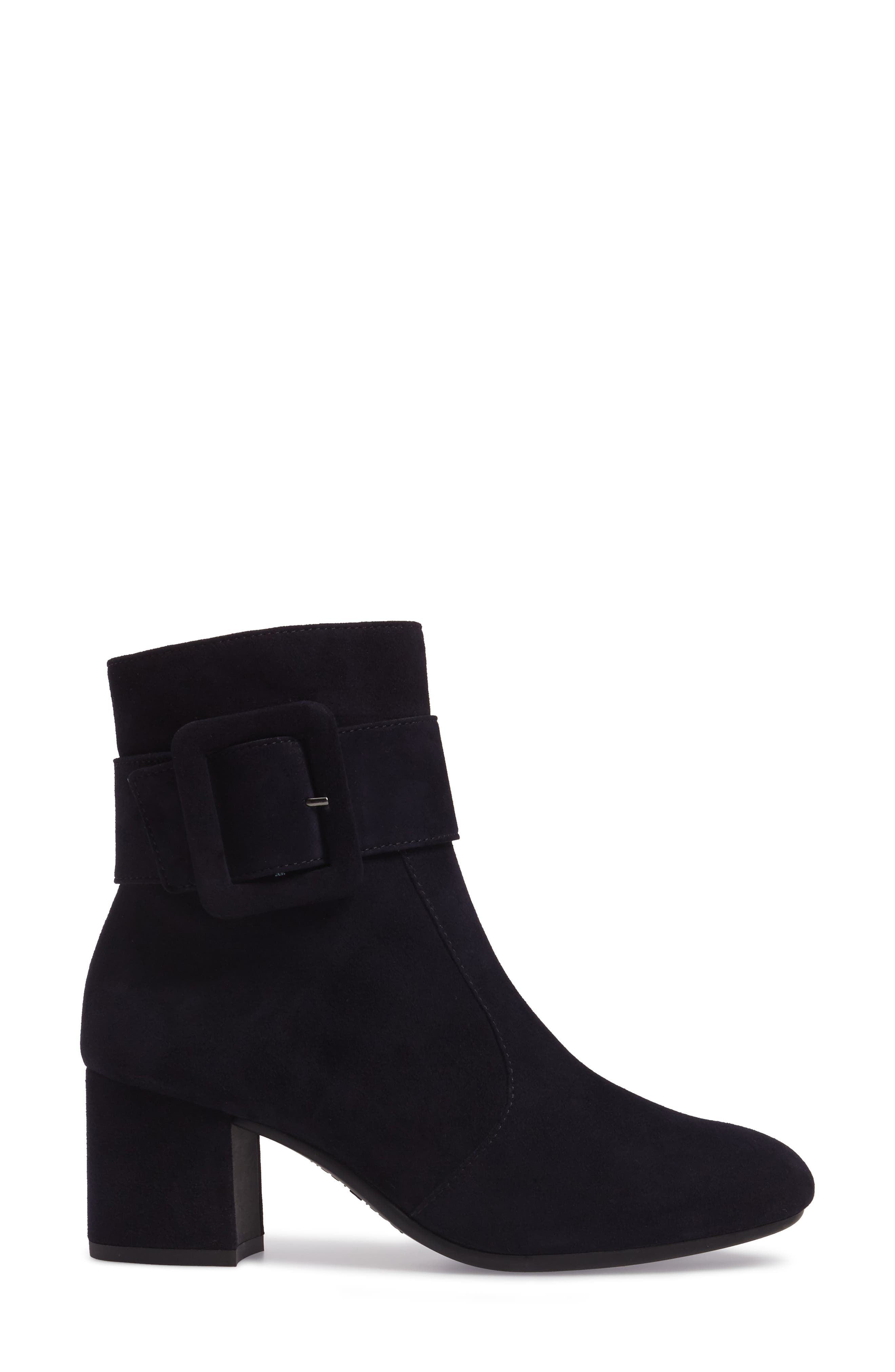 Natalia Buckle Boot,                             Alternate thumbnail 3, color,                             Navy Suede
