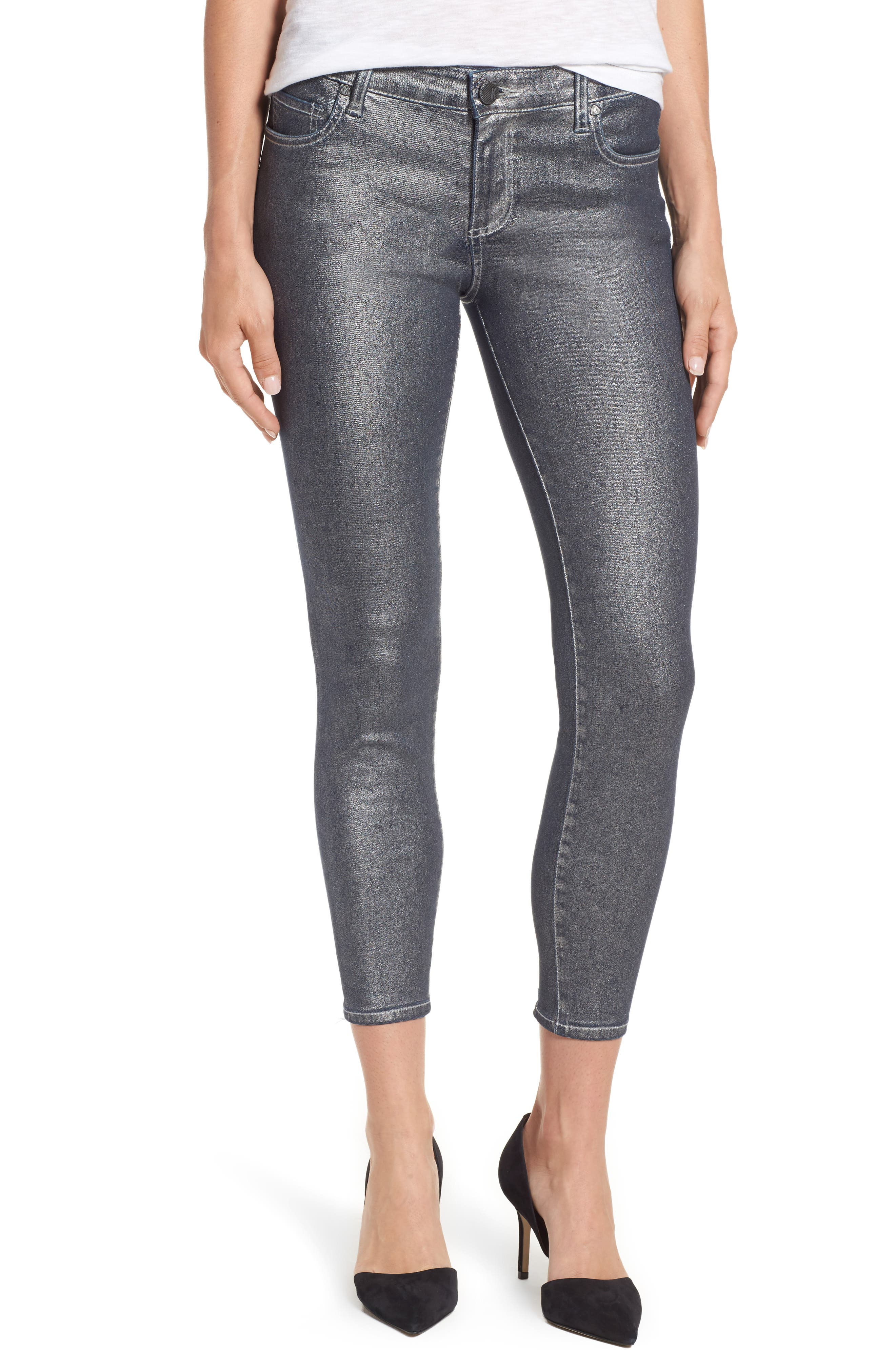 Alternate Image 1 Selected - KUT from the Kloth Connie Ankle Zipper Jeans (Silver) (Regular & Petite)