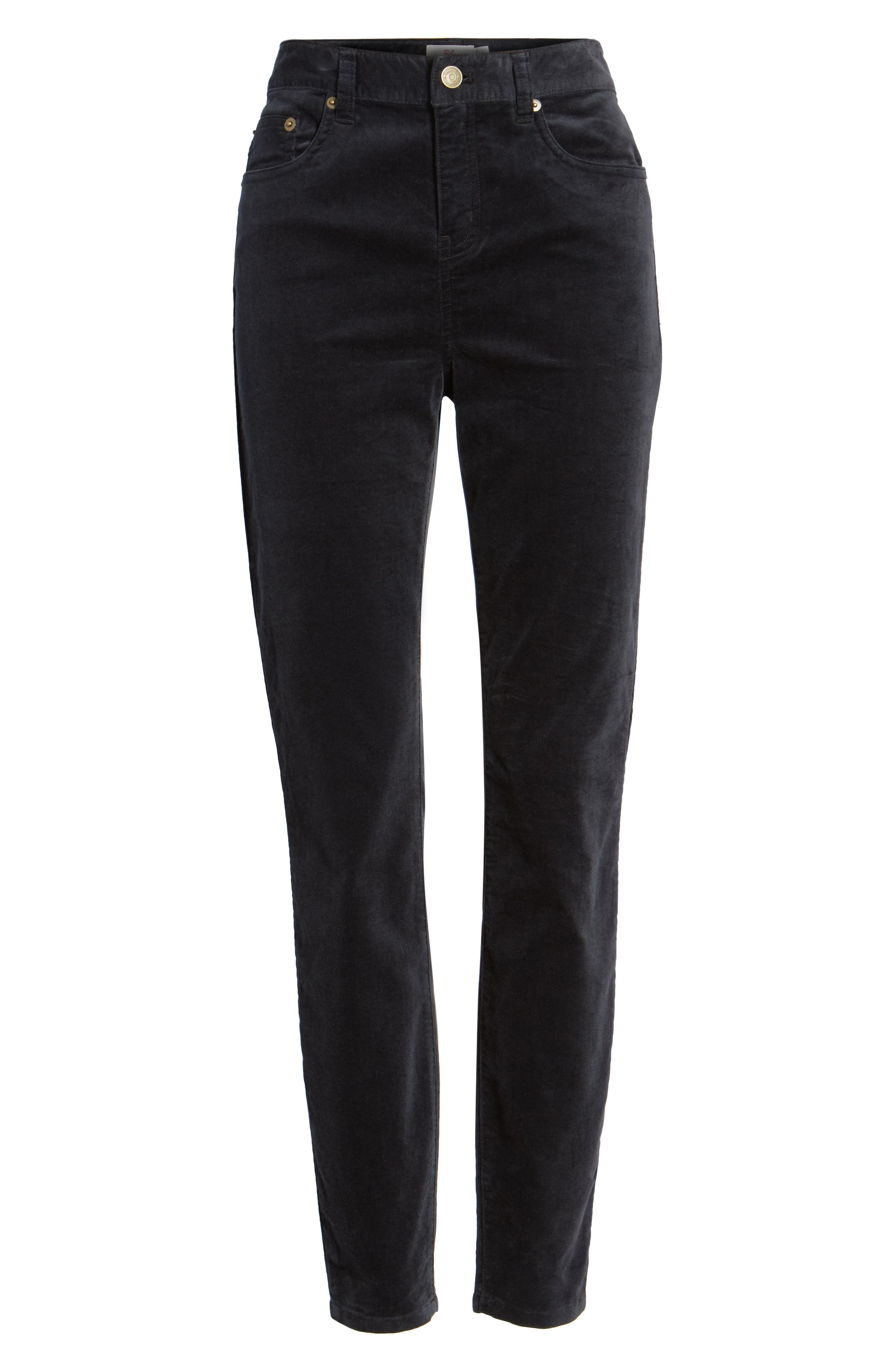 Velvet Skinny Jeans,                             Alternate thumbnail 6, color,                             Jet Black