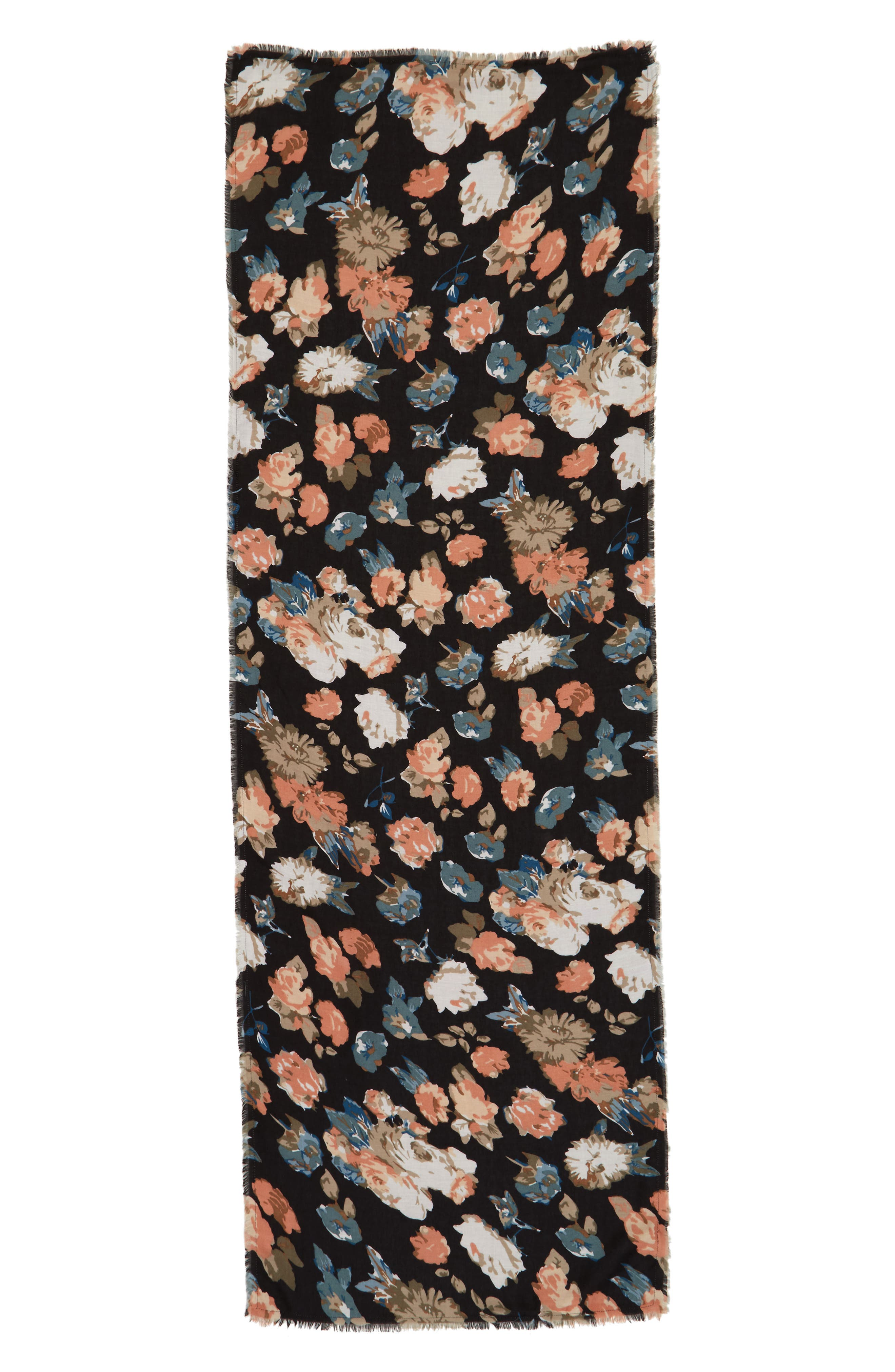 Reversible Floral Scarf,                             Alternate thumbnail 2, color,                             Grey Multi