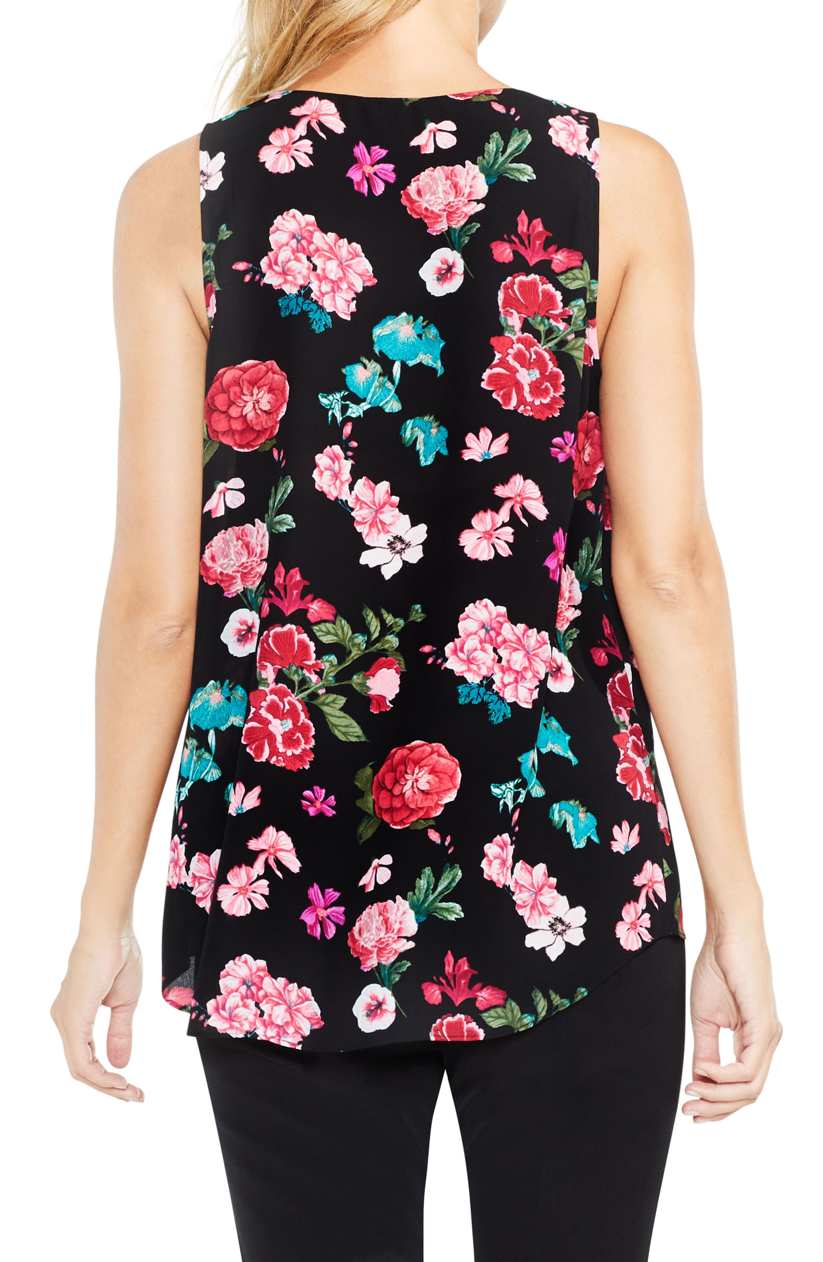 Sleeveless Floral Heirlooms Drape Front Top,                             Alternate thumbnail 2, color,                             Rich Black