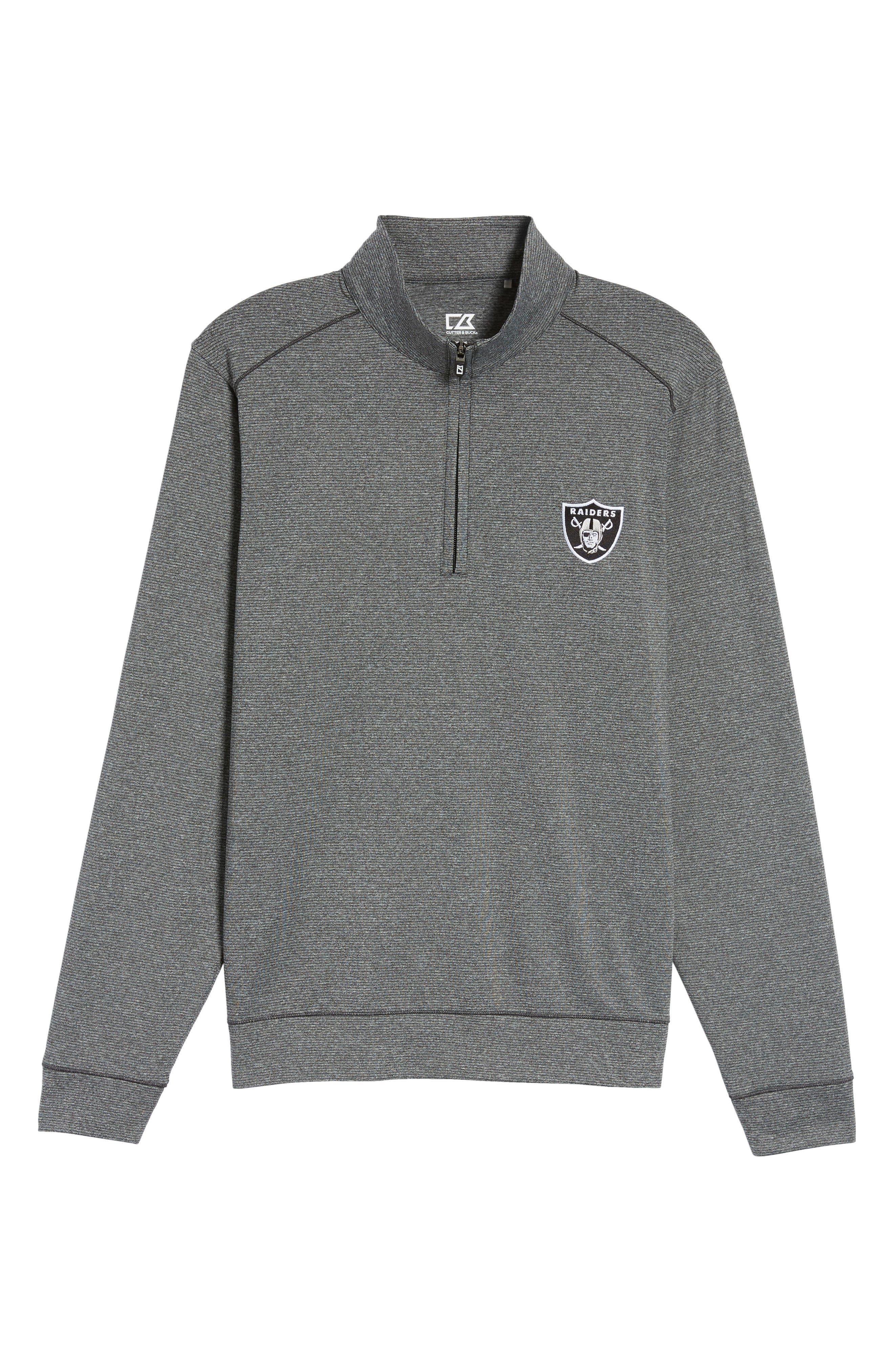 Shoreline - Oakland Raiders Half Zip Pullover,                             Alternate thumbnail 6, color,                             Charcoal Heather