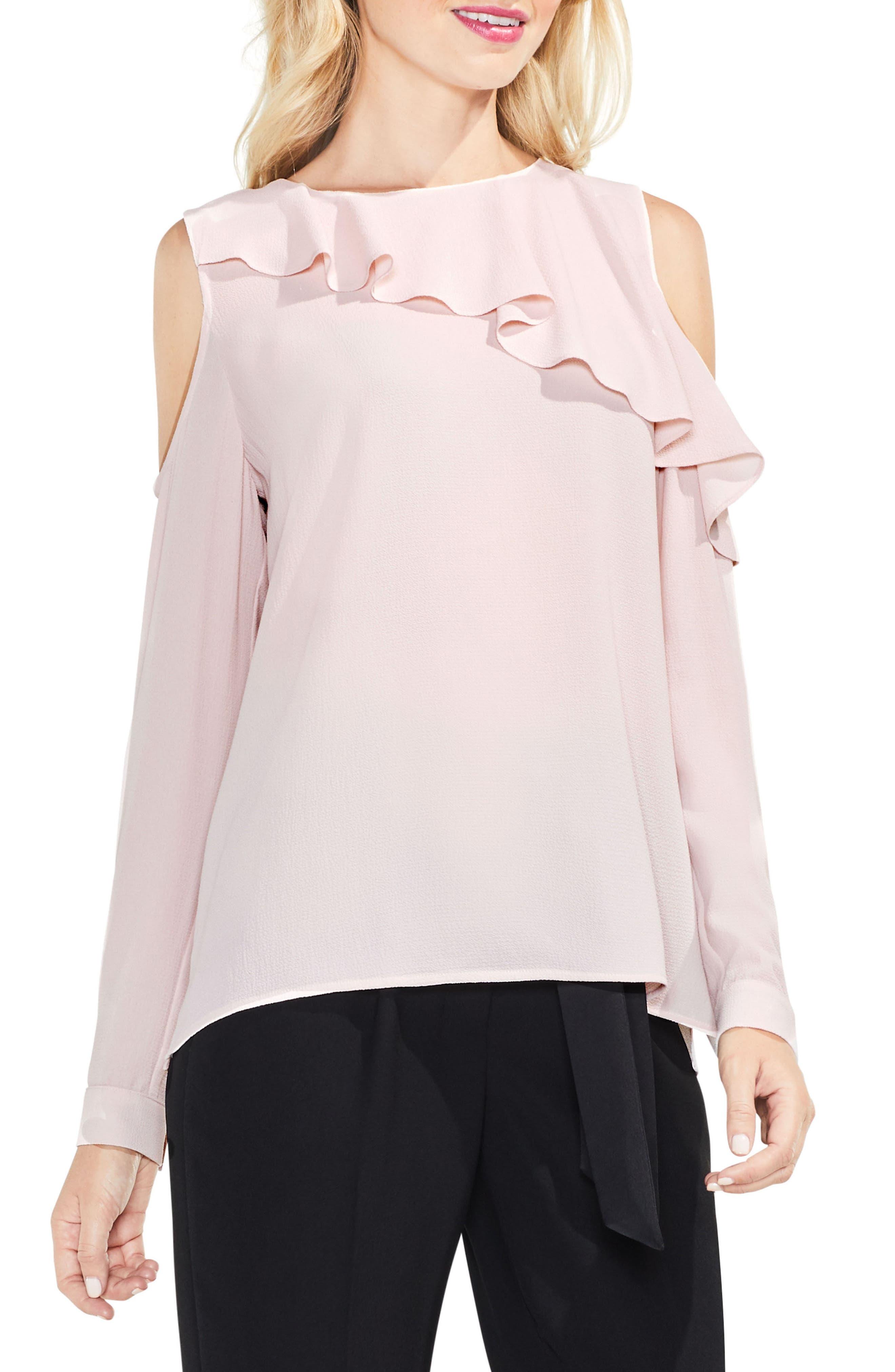 Ruffle Cold Shoulder Top,                         Main,                         color, Hush Pink