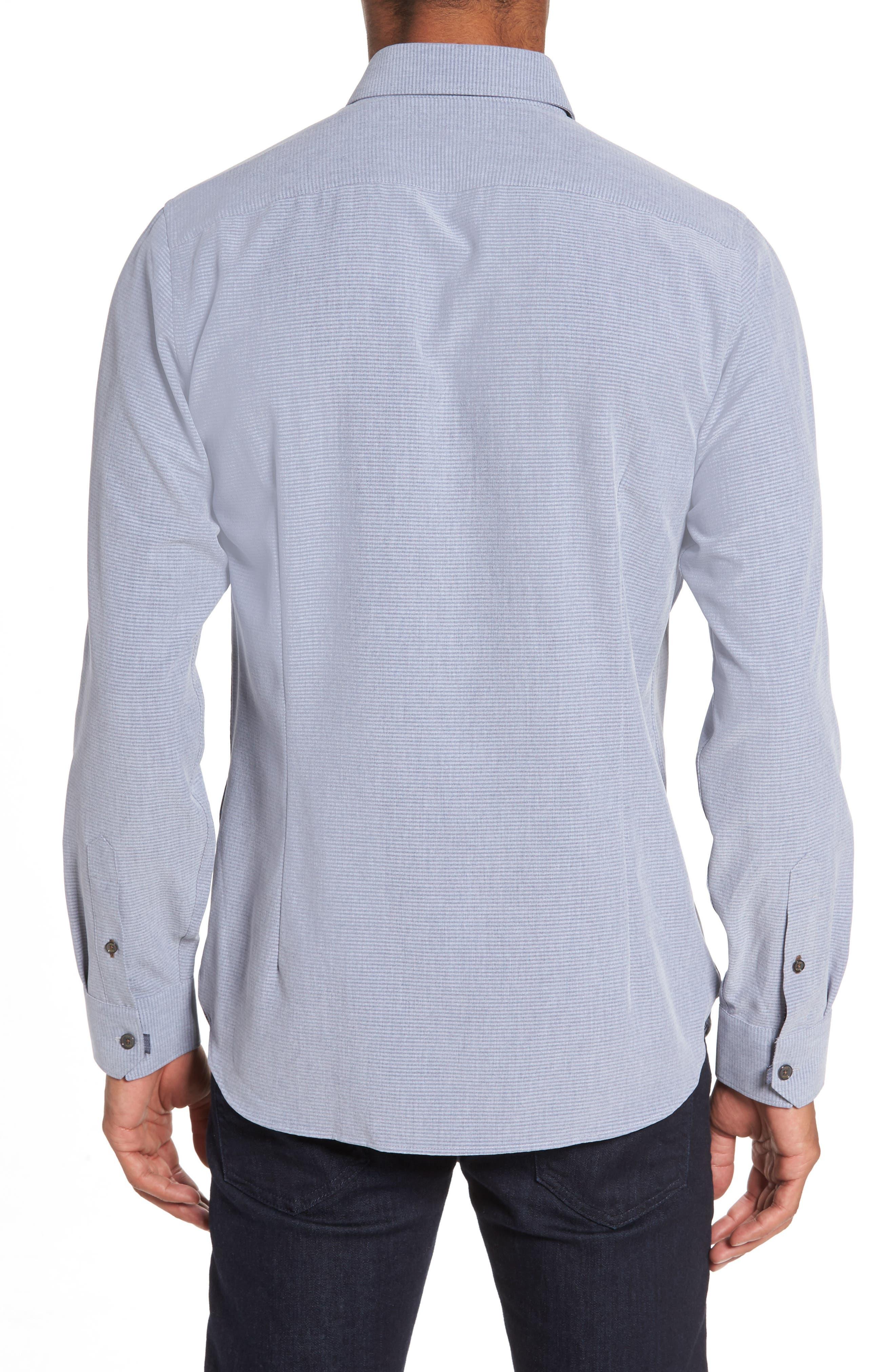 Mettro Slim Fit Horizontal Stripe Sport Shirt,                             Alternate thumbnail 2, color,                             Grey