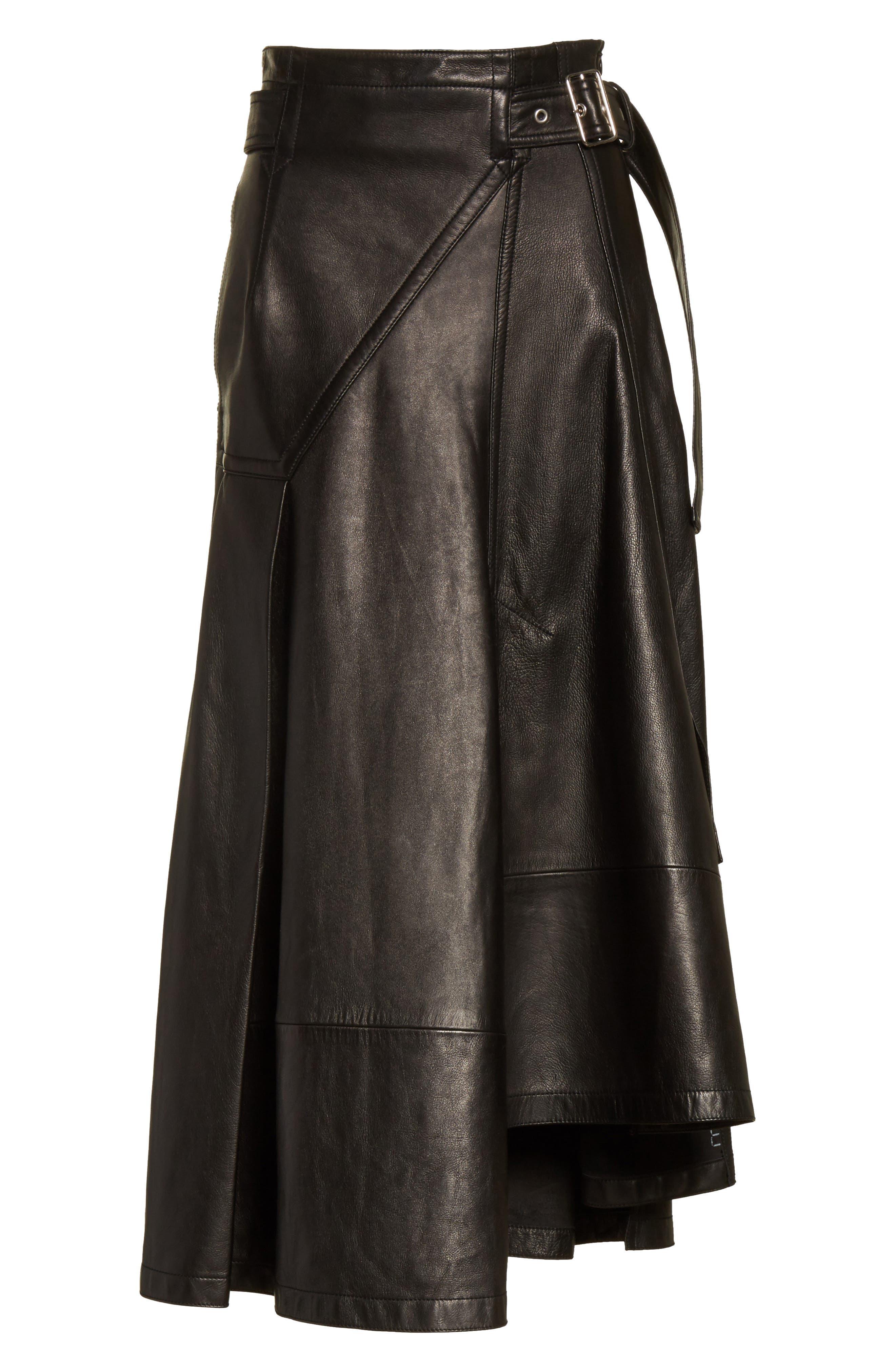 Leather Utility Skirt,                             Alternate thumbnail 6, color,                             Black
